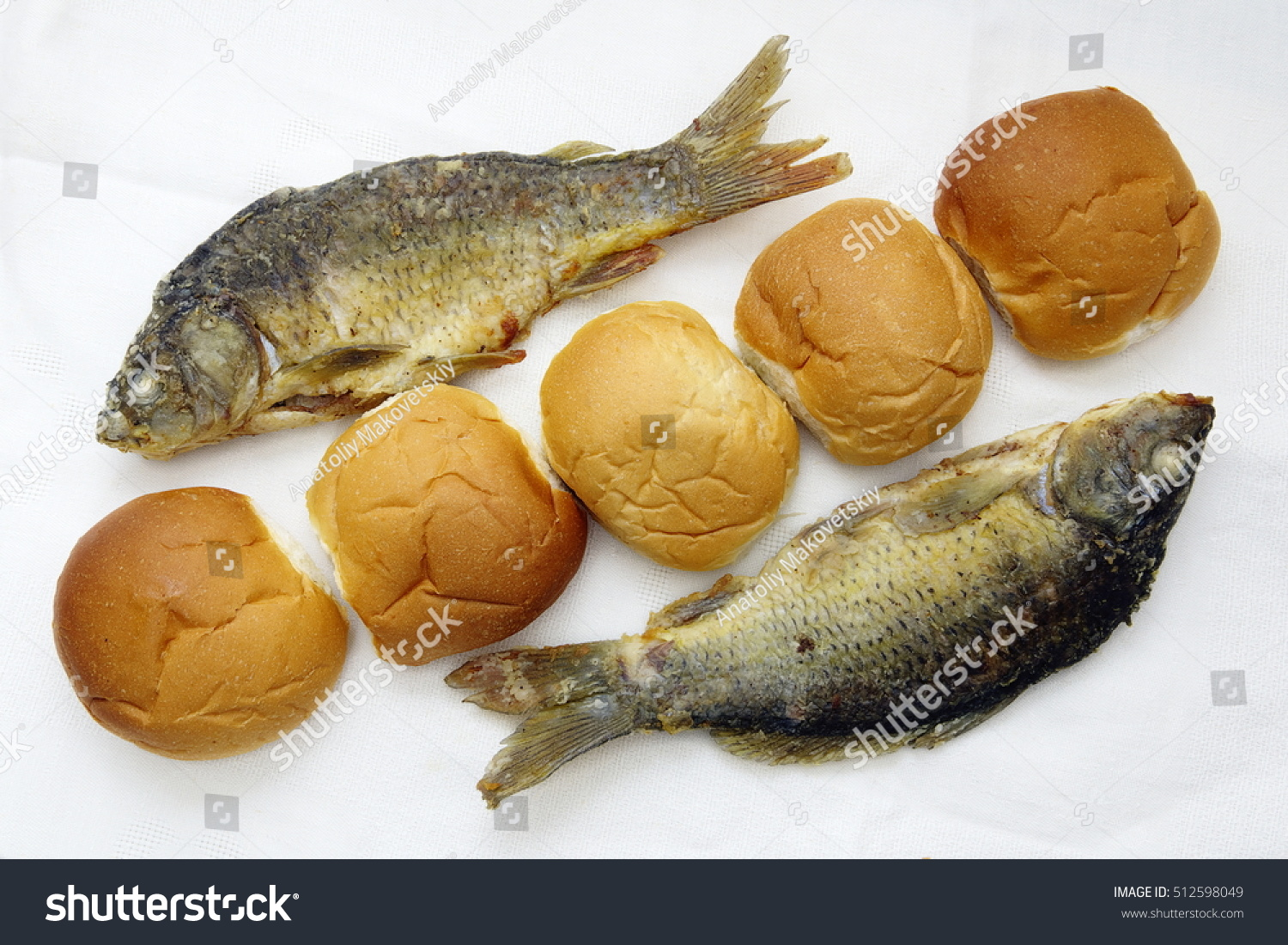 Five loaves two fishes stock photo 512598049 shutterstock for Loaves and fishes