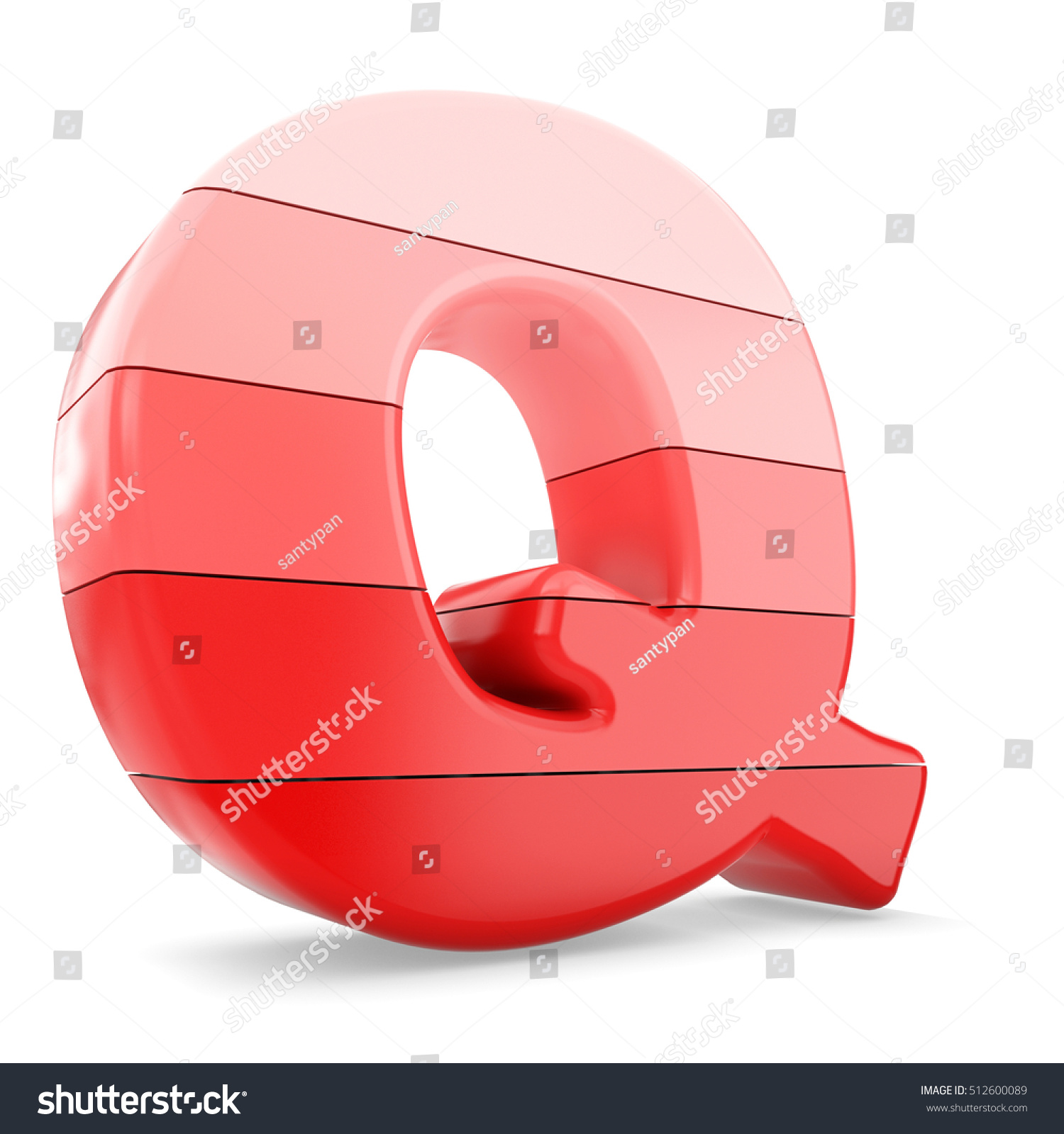 3 D Red Color Letter Q Isolated Stock Illustration 512600089 ...