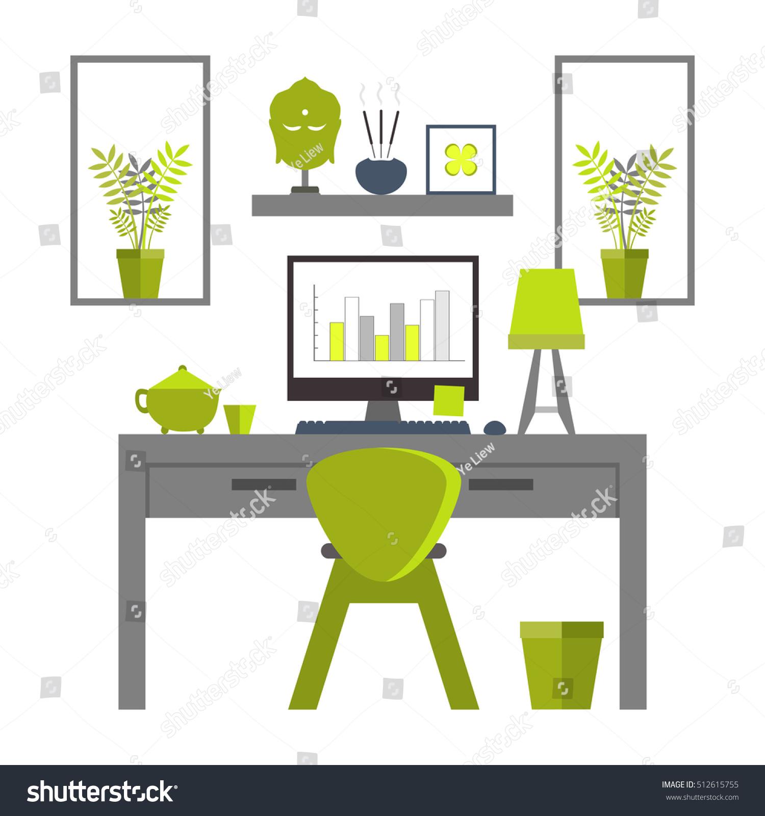 Flat Design Of Zen Home Office Layout. Relaxing Work Environment.
