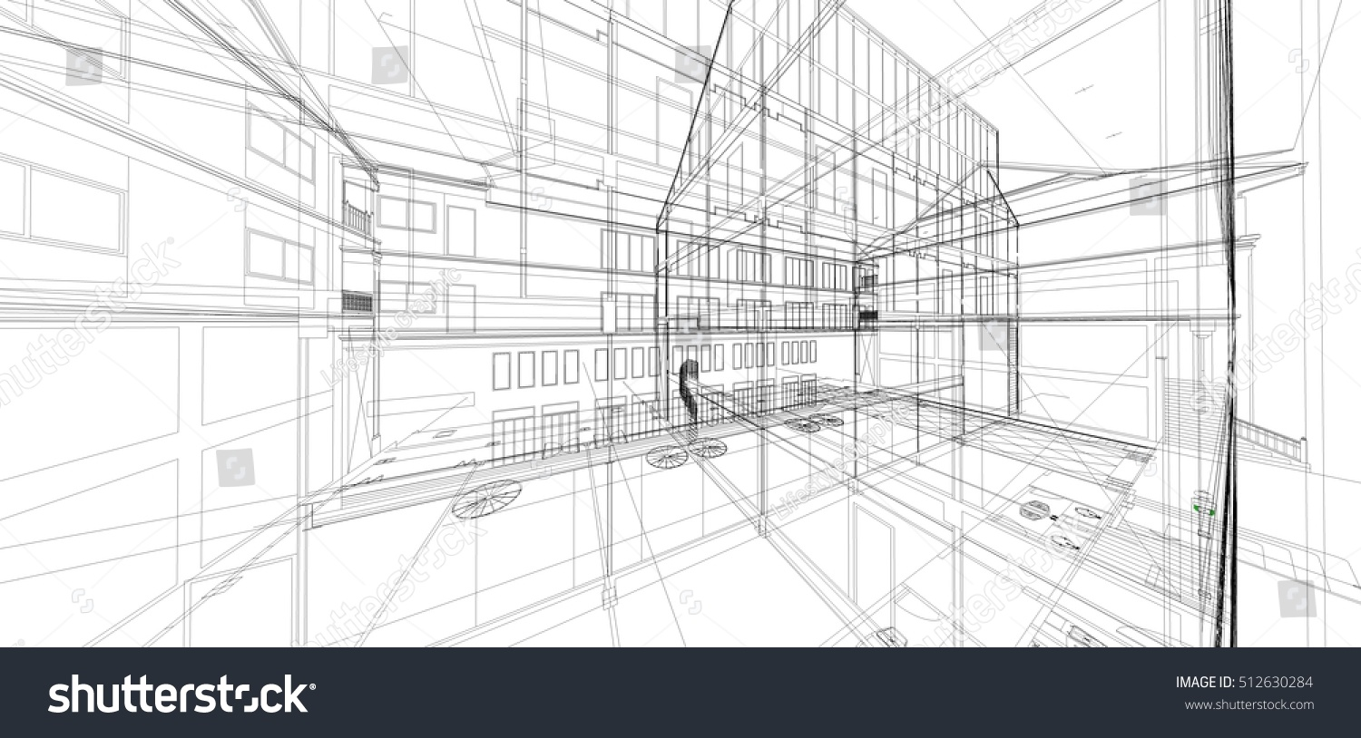 abstract 3 d render building wireframe constructionのイラスト素材