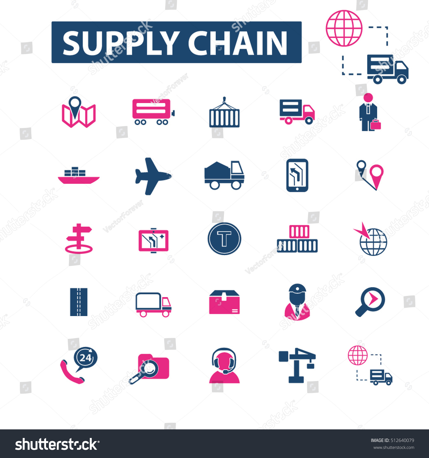 Supply Chain Icons Stock Vector Royalty Free 512640079 Shutterstock
