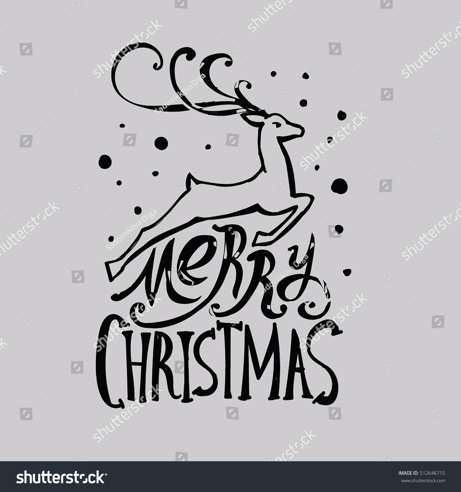 lettering merry christmas christmas illustration composition with reindeer cursive hand drawing