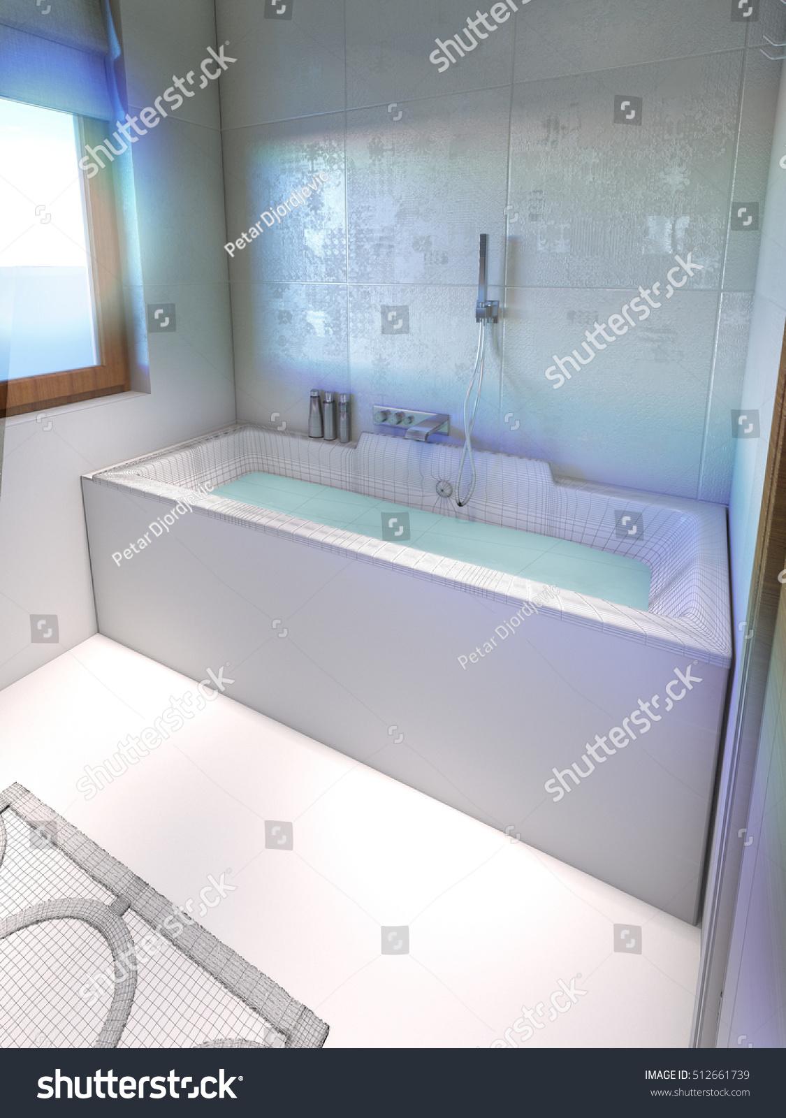 Bathtub Bathroom 3 D Render Wireframe Stock Illustration 512661739 ...