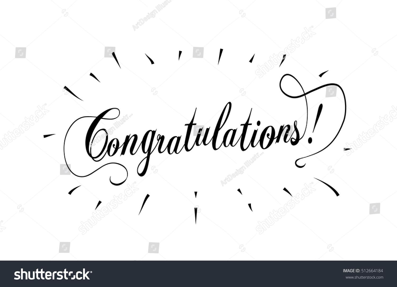 Congratulations card calligraphy vintage vector grunge
