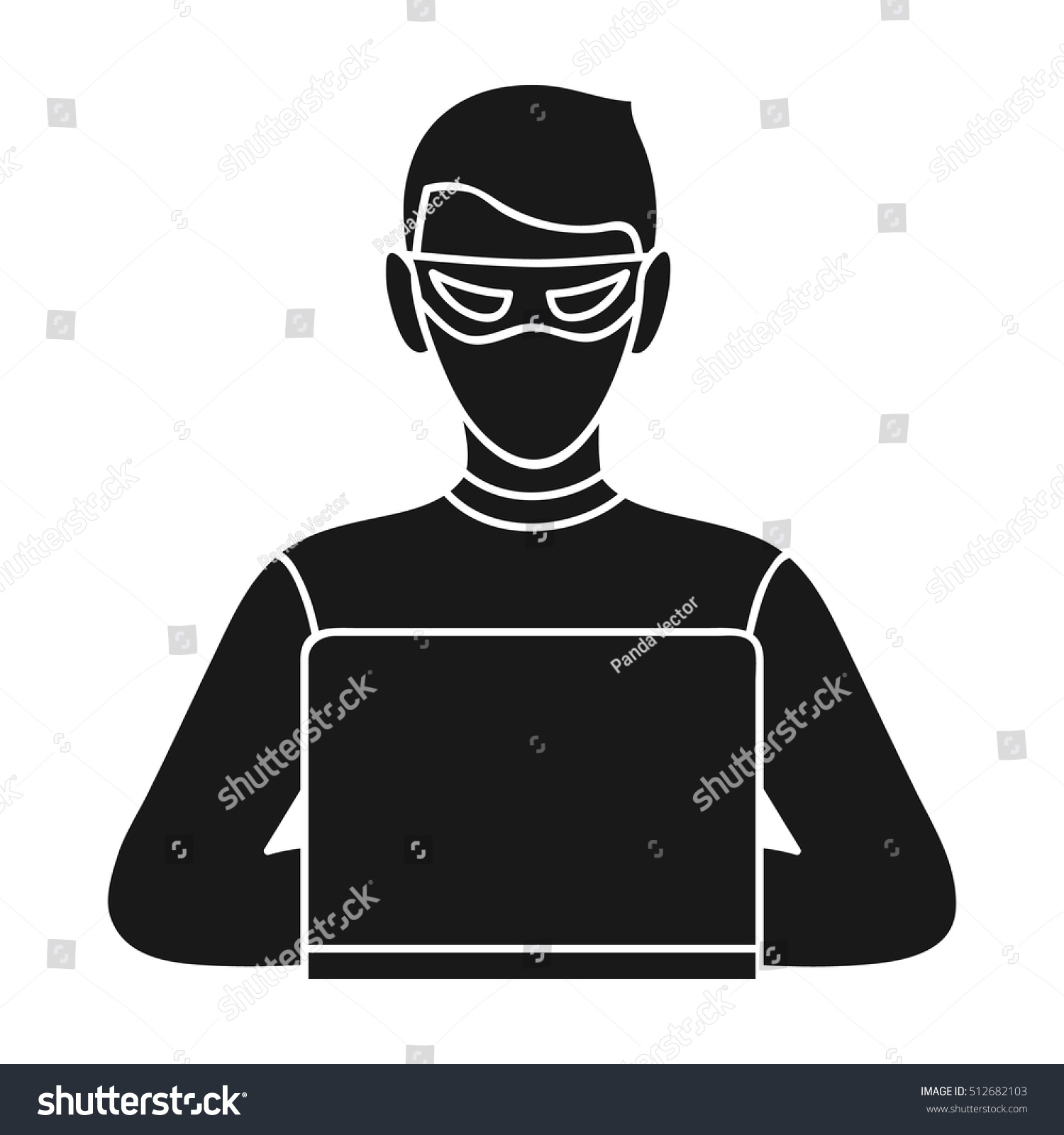 Hacker Icon Black Style Isolated On Stock Vector Royalty Free 512682103