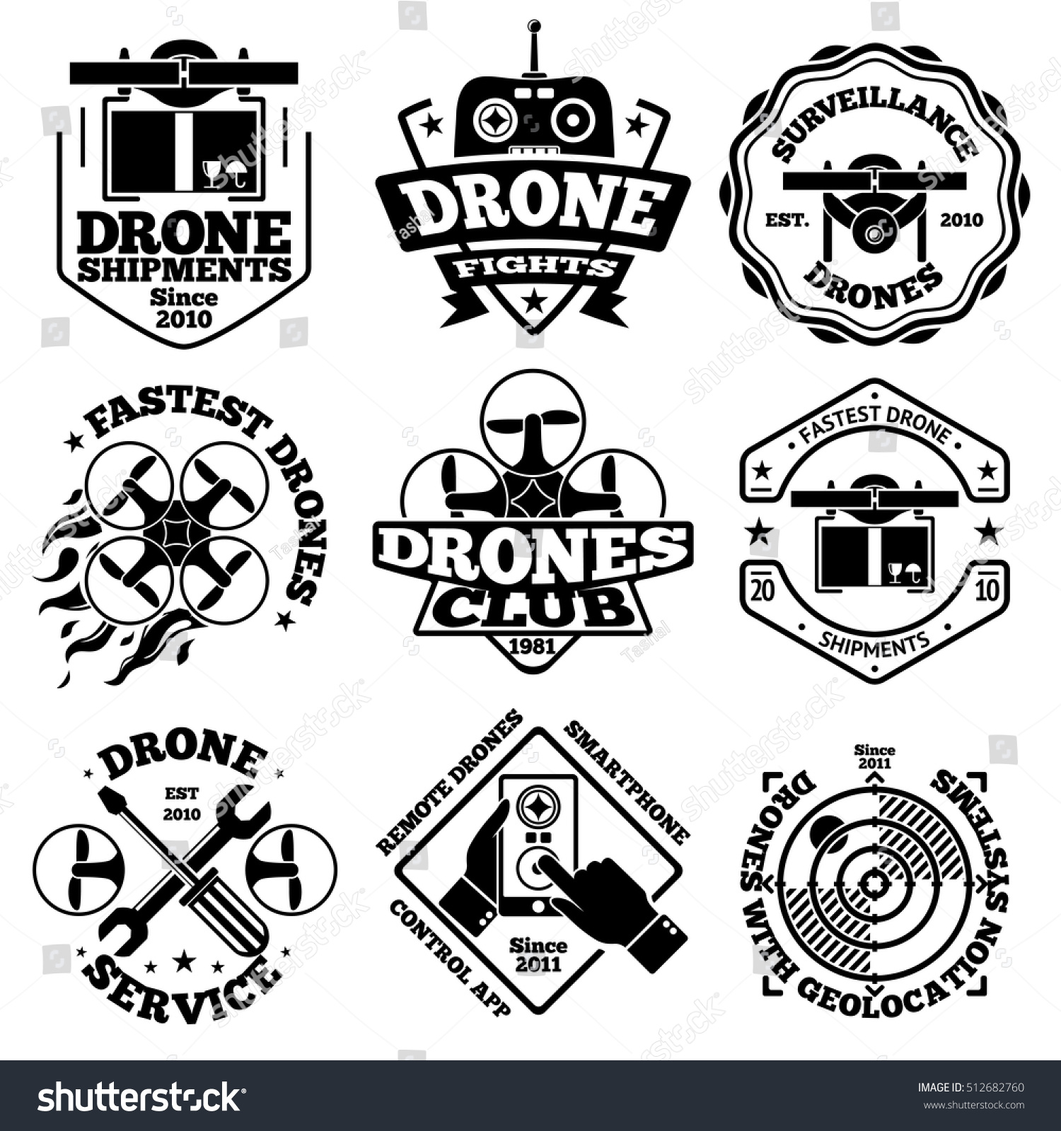 vector set of drone labels and logo templates with drones