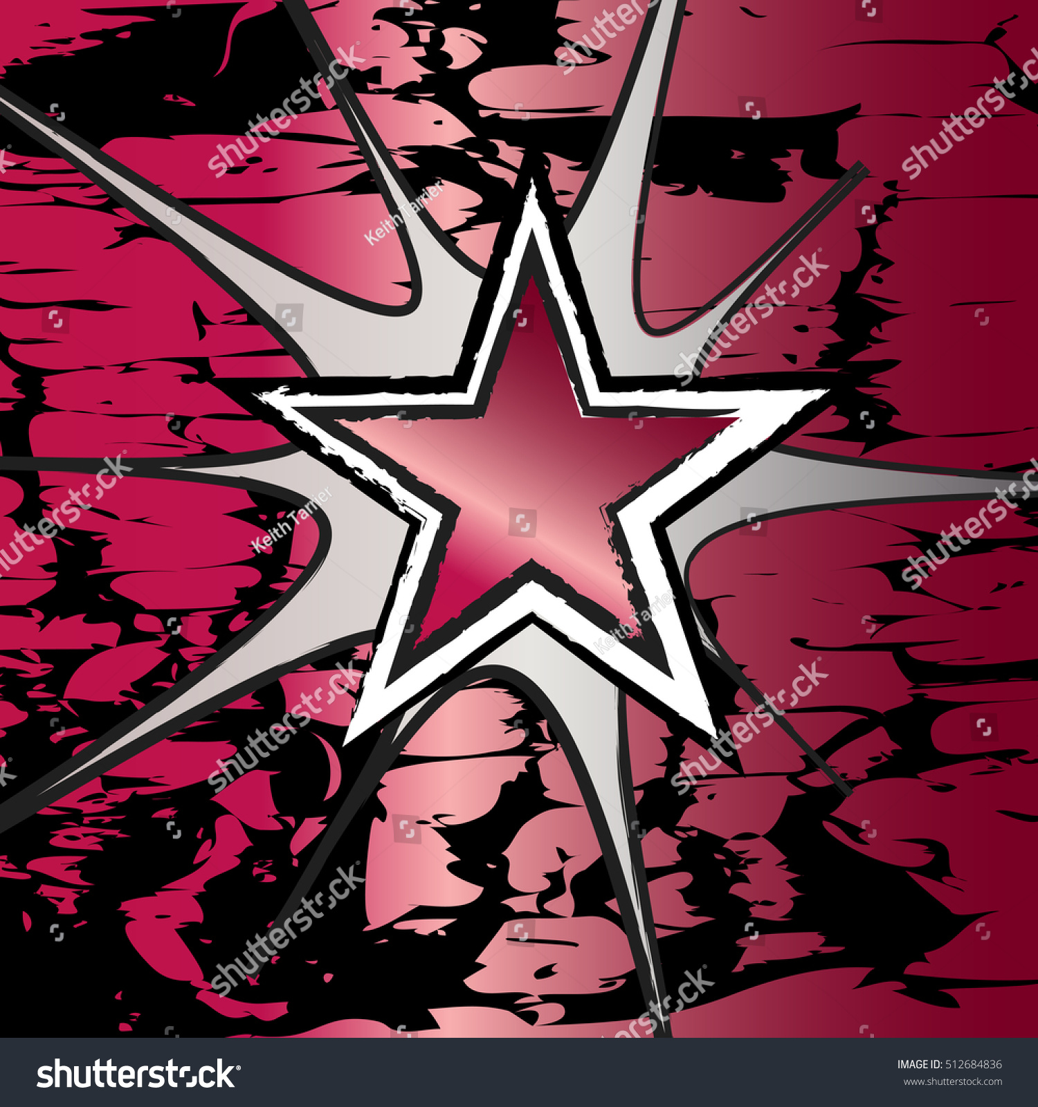 Rock n roll background images - Ruby Colored Rock N Roll Grunge Star Vector Background