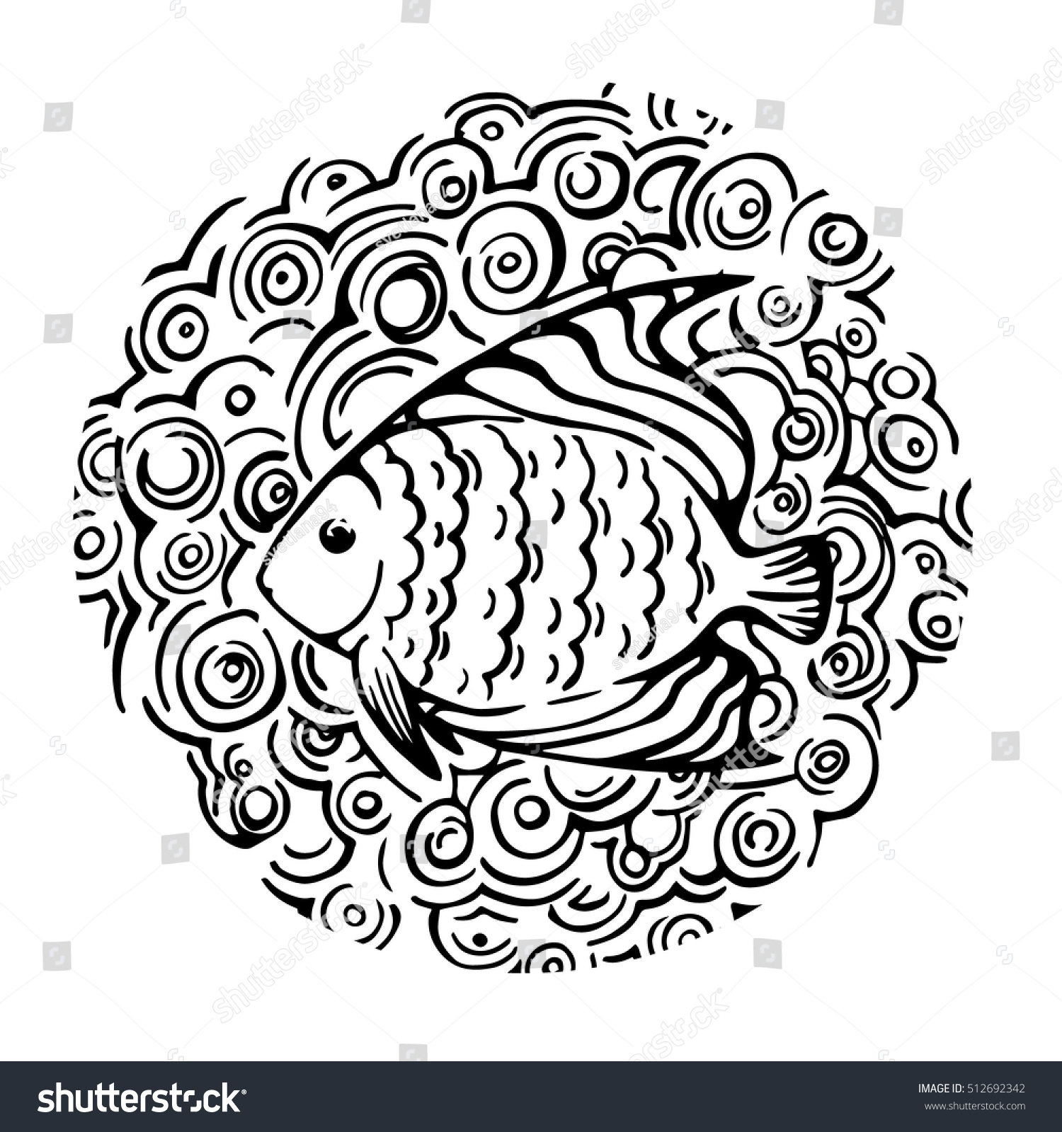vector sketch fish template design childs stock vector 512692342