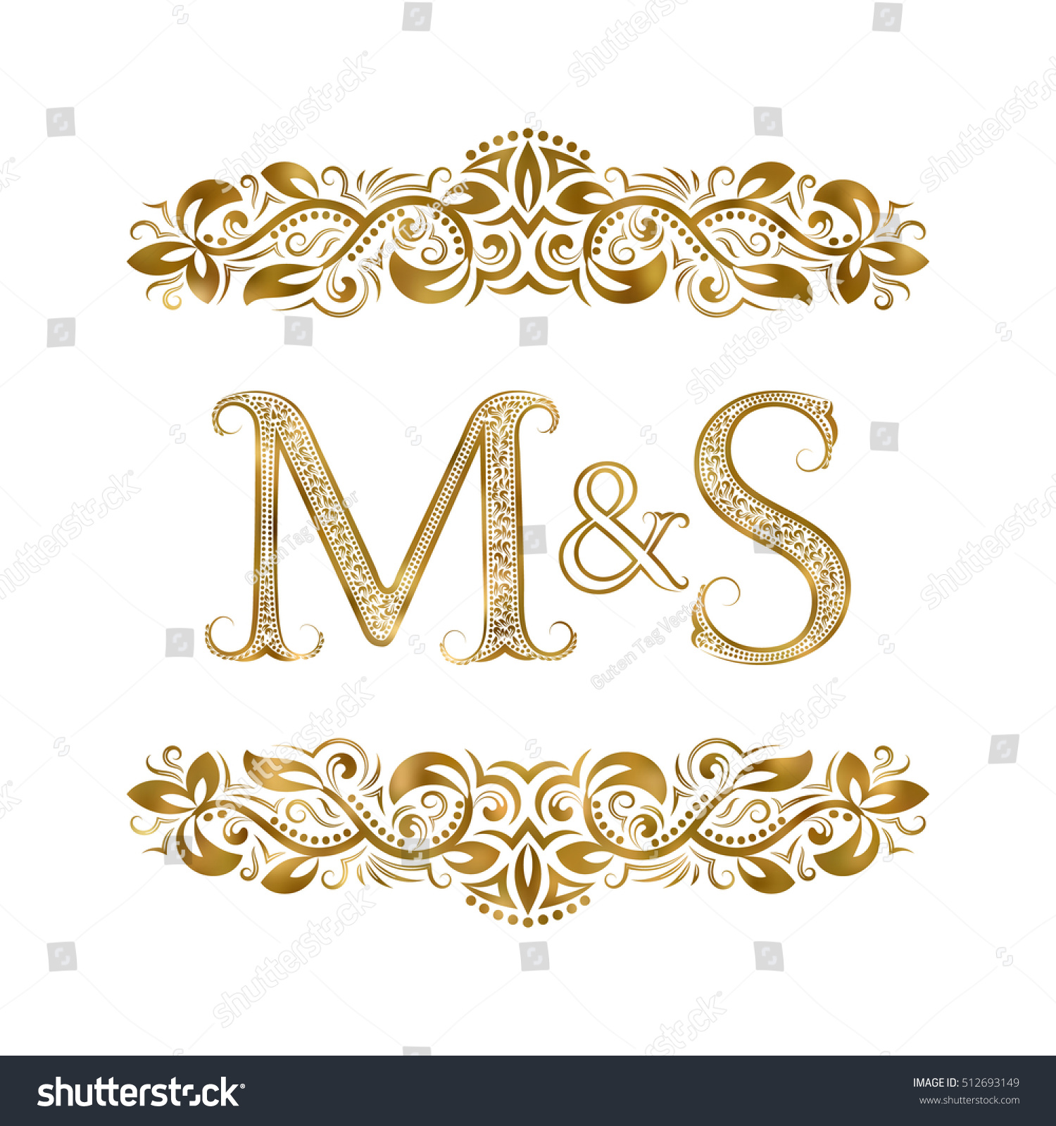 M S Vintage Initials Logo Symbol Stock Vector Royalty Free