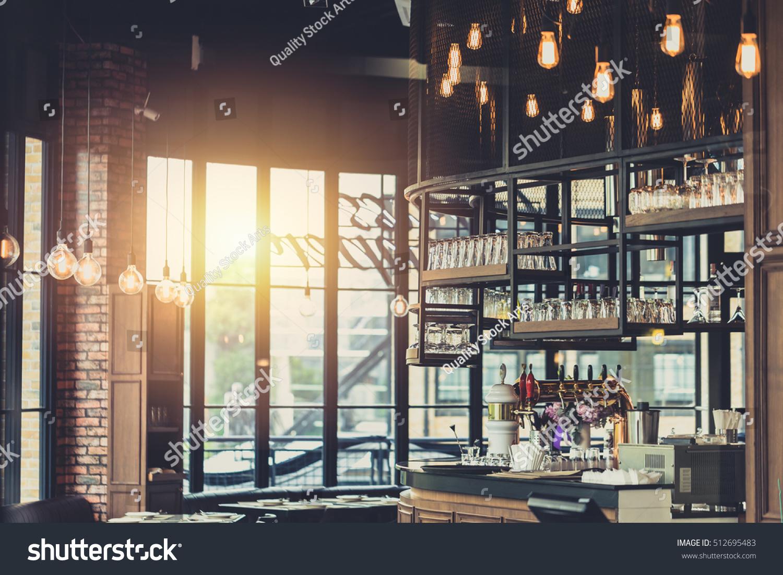 Modern Loft Style Restaurant Decoration Hanging Stock Photo ...