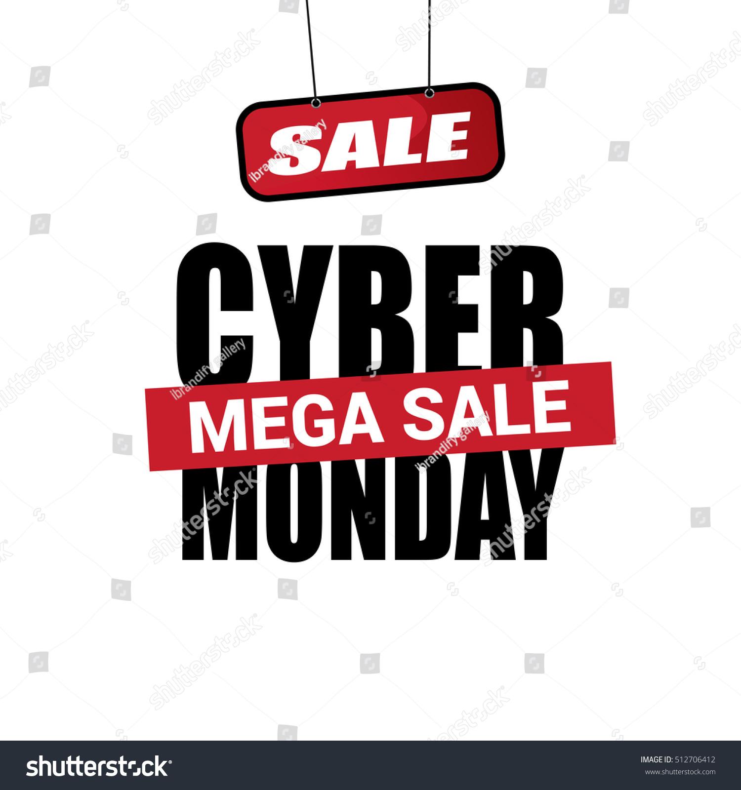 Cyber Monday Sale Inscription Design Template Image