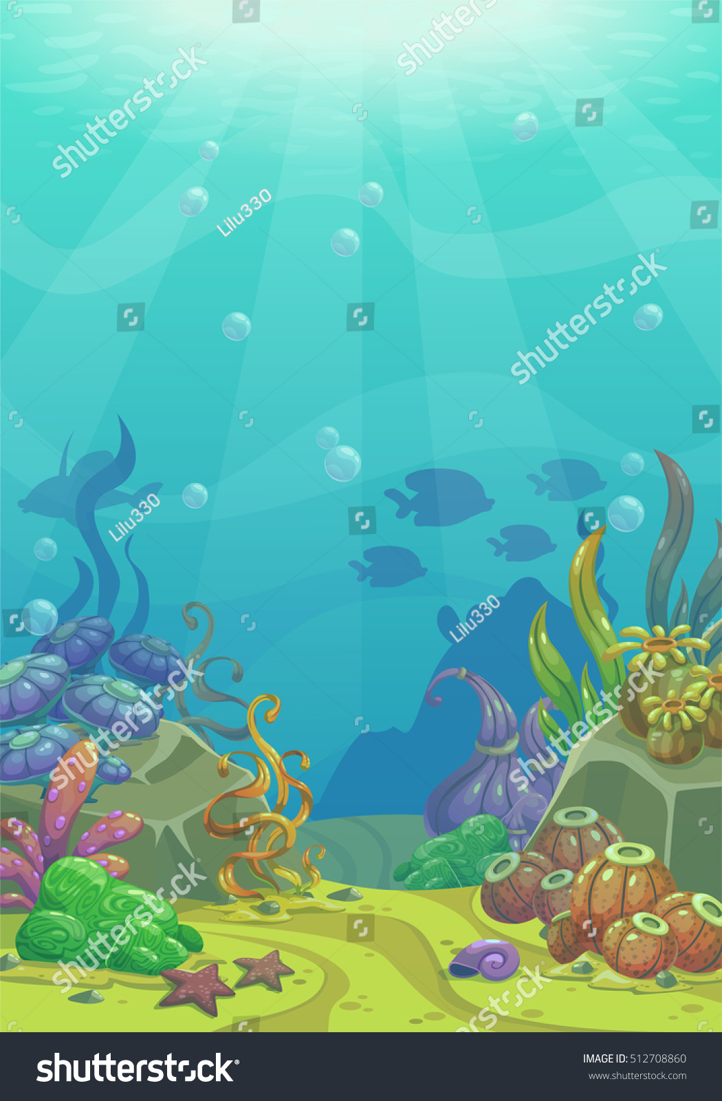 cartoon underwater vector illustration undersea world