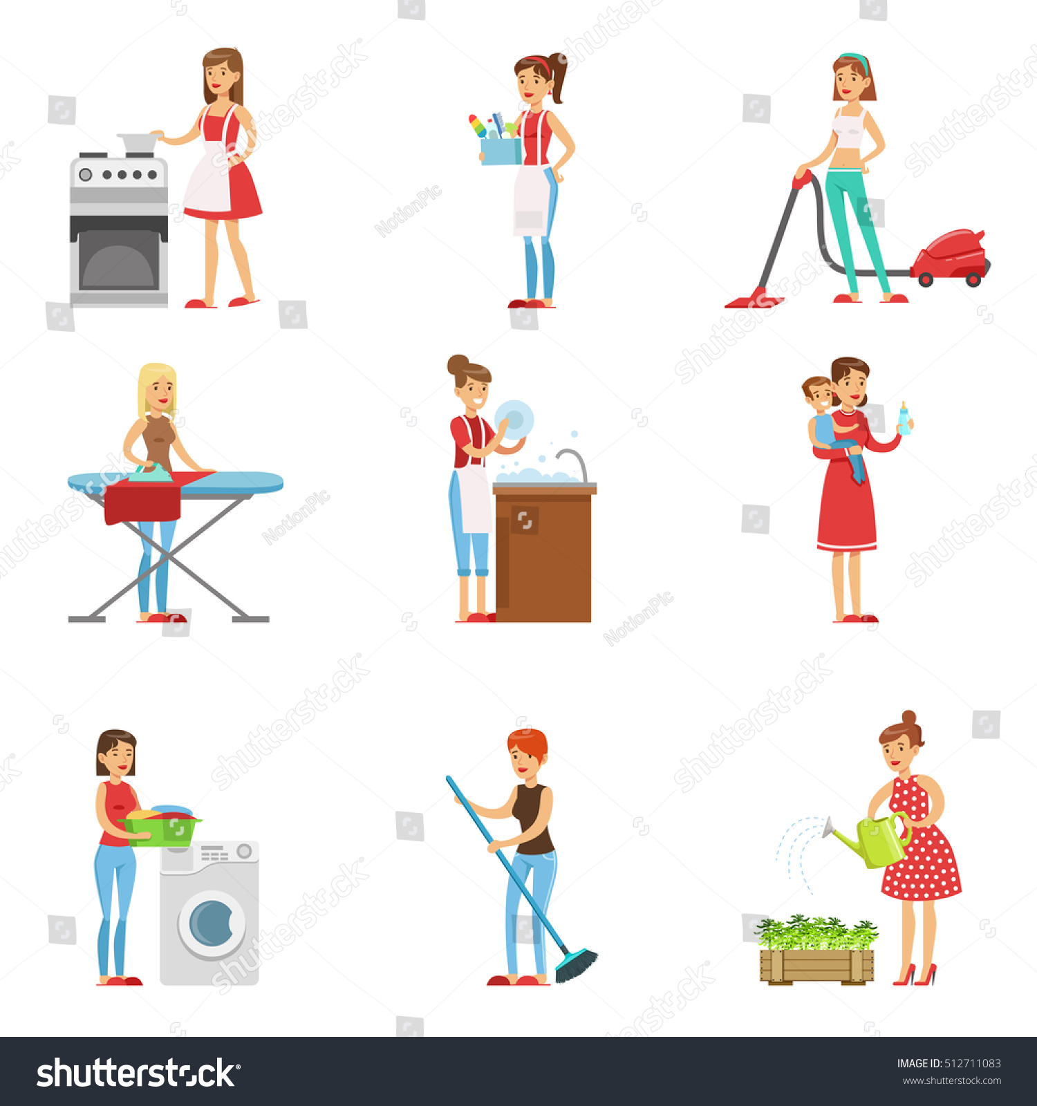 Happy Modern Housewives Cleaning And Housekeeping, Performing Different  Household Duties With A Smile  Housekeeping Duties