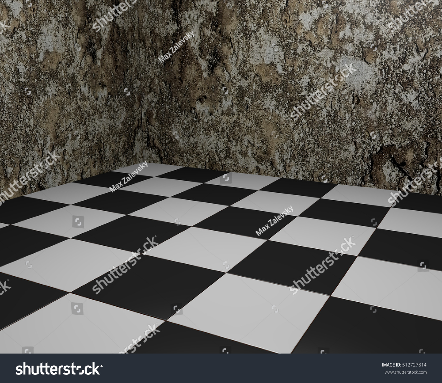 Black And White Vintage Floor Tiles Background With Grungy Walls. Checkered  Texture As Modern Interior