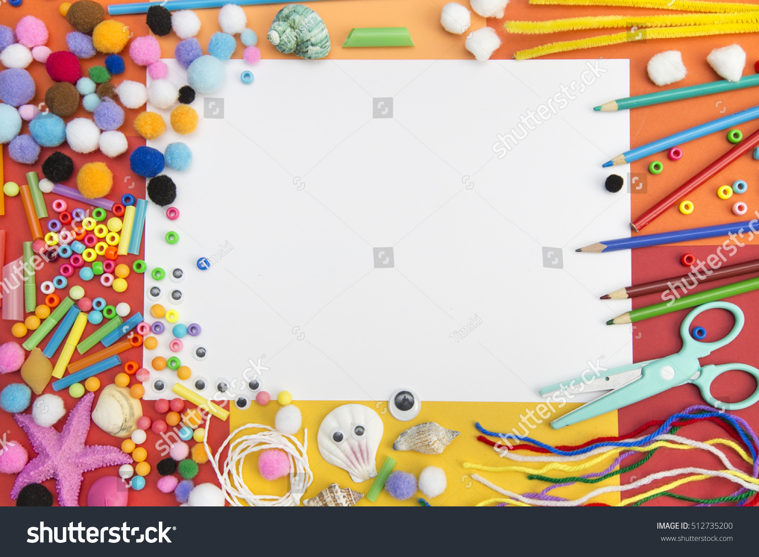 craft paper materials used kids crafts stock photo