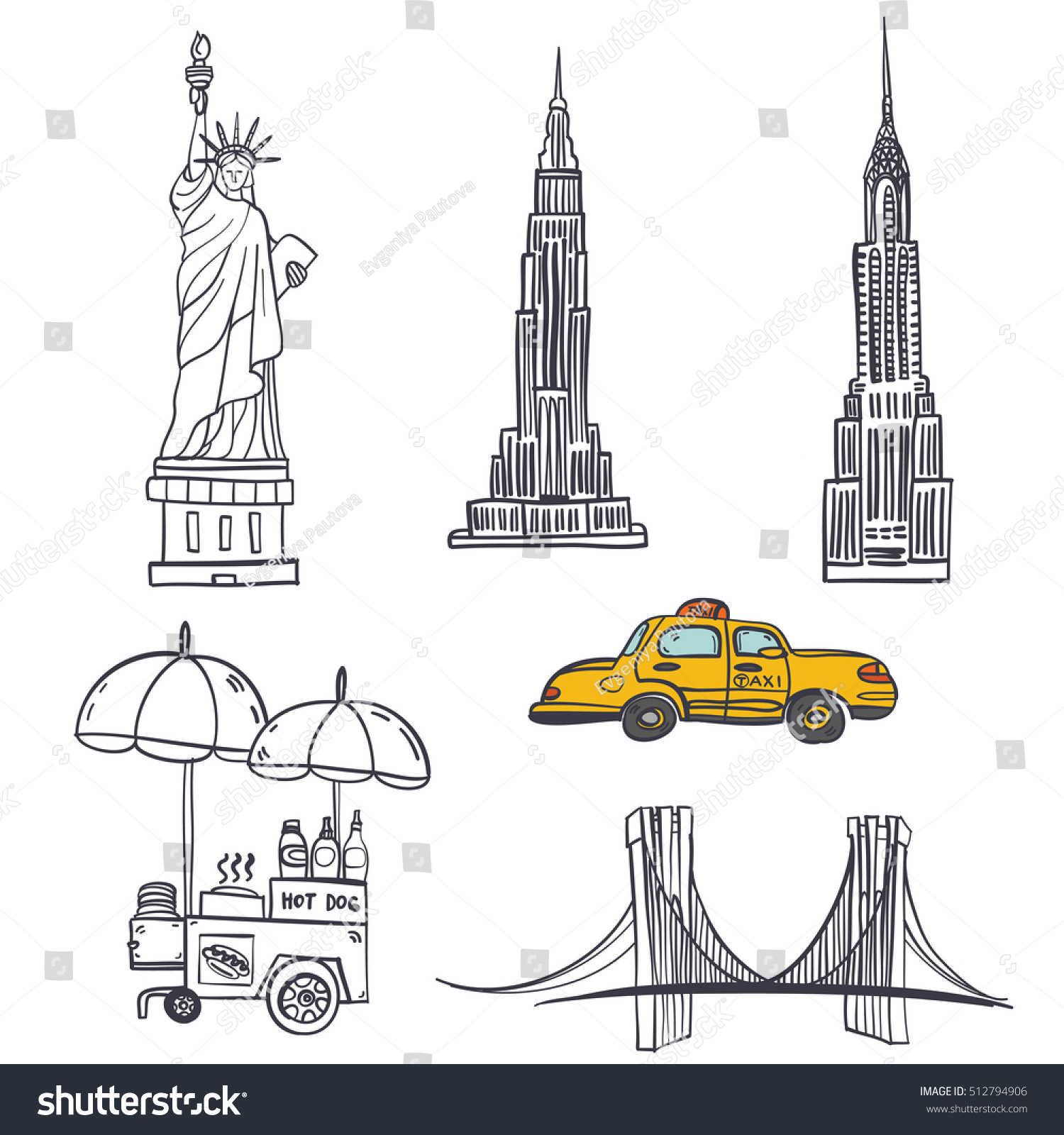 Hand drawn seamless vector pattern symbols stock vector 512794906 hand drawn seamless vector pattern with symbols of new york city statue of liberty buycottarizona Image collections
