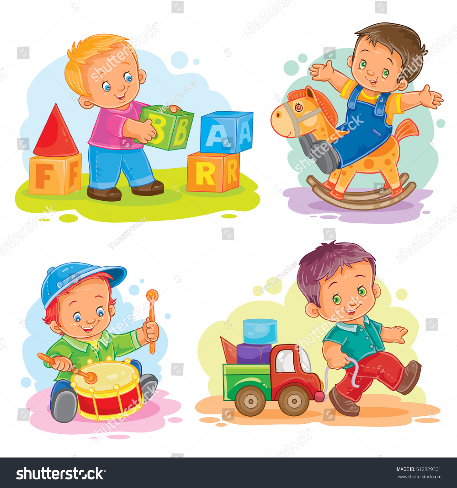 Set Vector Icons Little Boy Playing Stock Vector