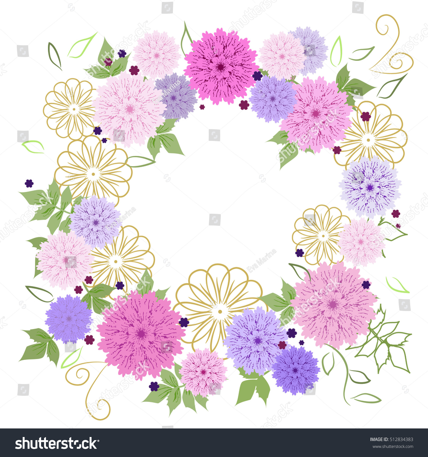 Floral Round Frame Bright Dahlias Fabric Stock Illustration ...