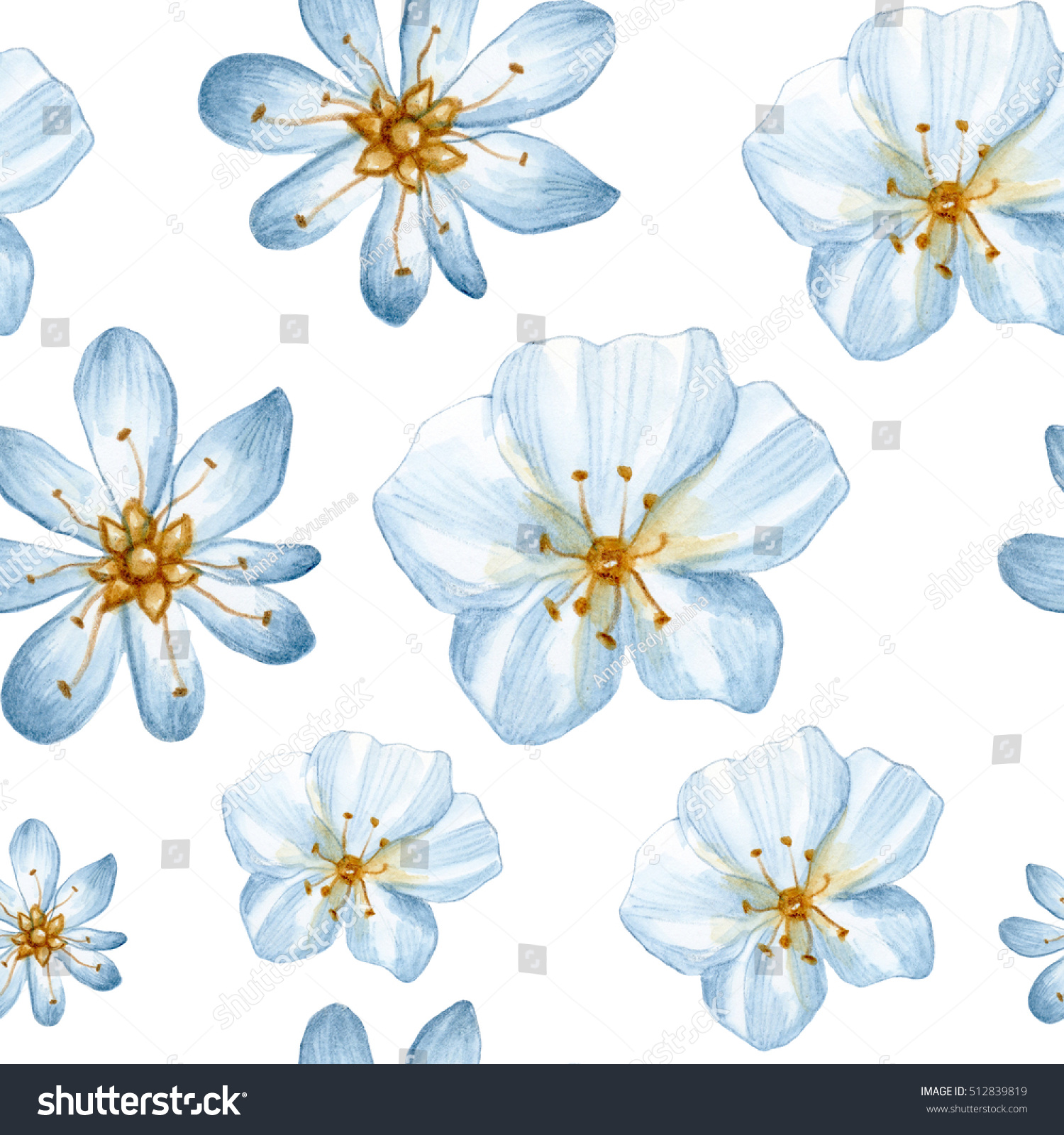 Watercolor Seamless Floral Pattern With Light Blue Flowers Perfect For Textile Design Wallpaper