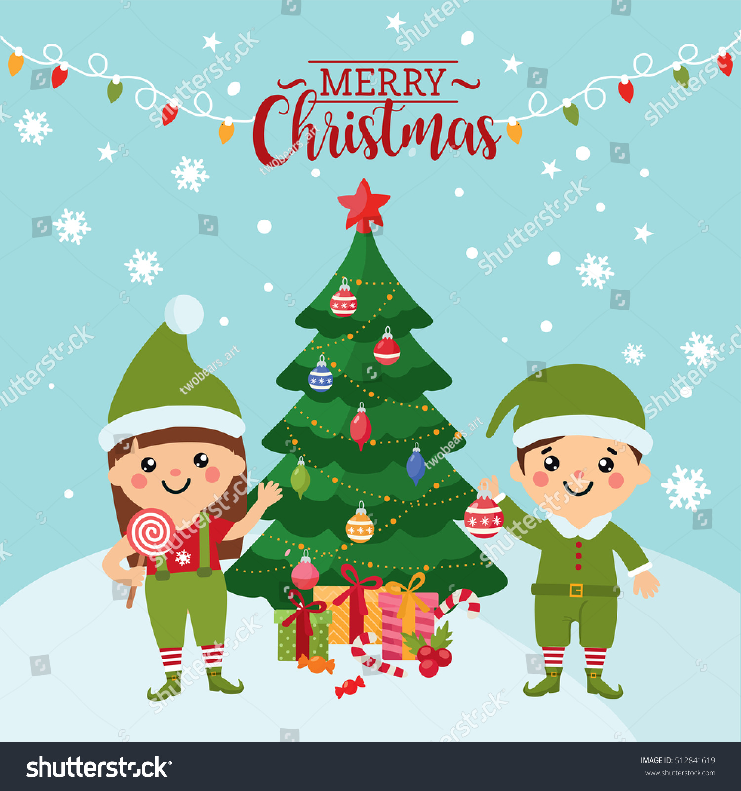 Merry christmas greeting card cute kids stock vector royalty free merry christmas greeting card with a cute kids kids in costumes of elves christmas m4hsunfo