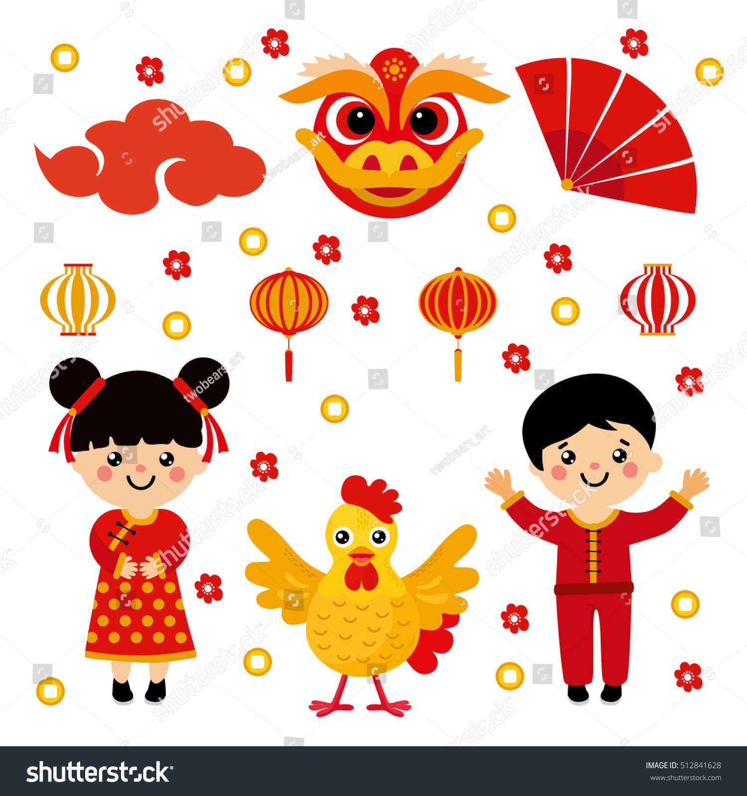 Set Asian Characters Objects Chinese New Stock Vector Royalty Free