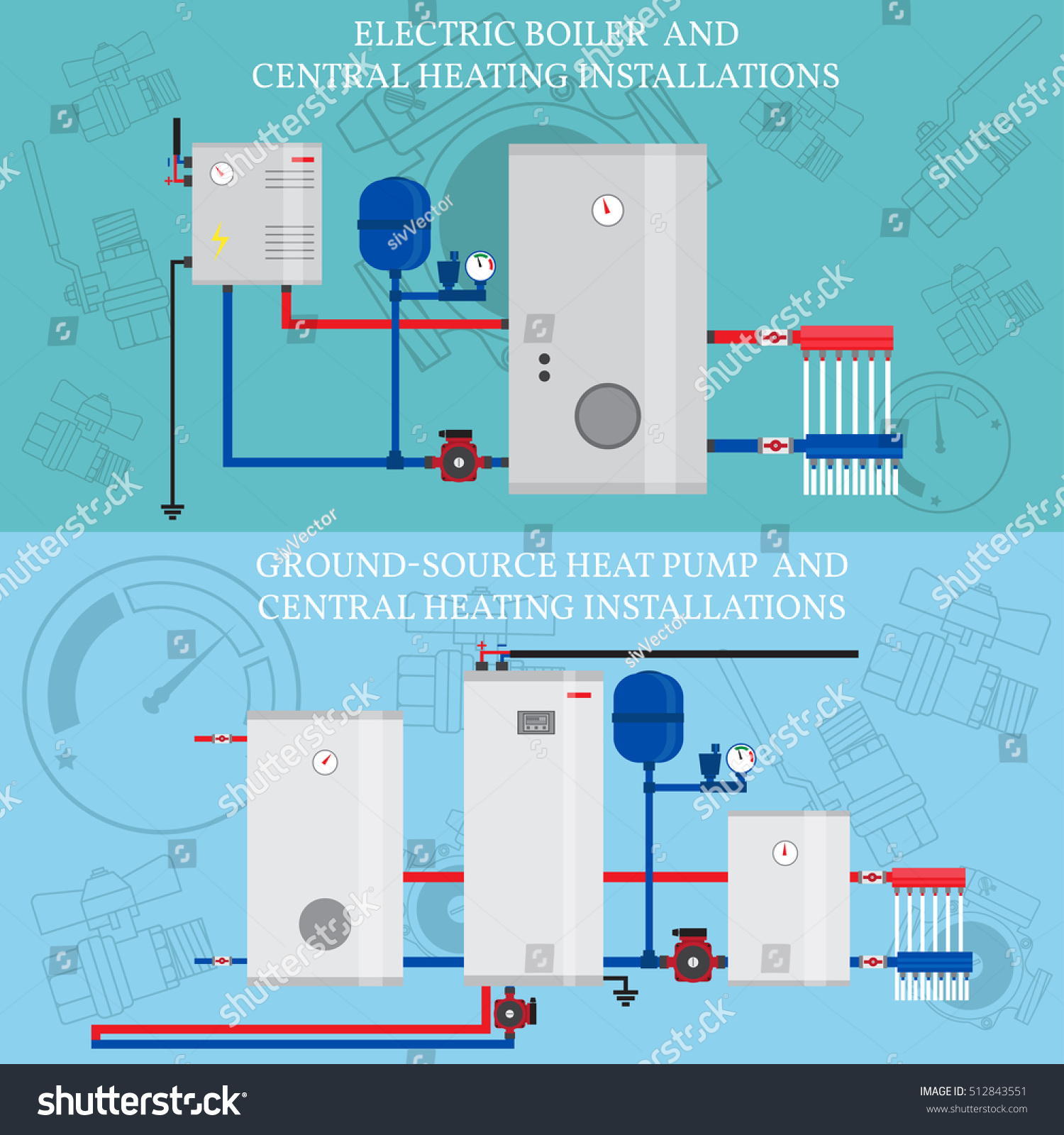 Electric Boiler Central Heating Installations Flat Stock Vector ...