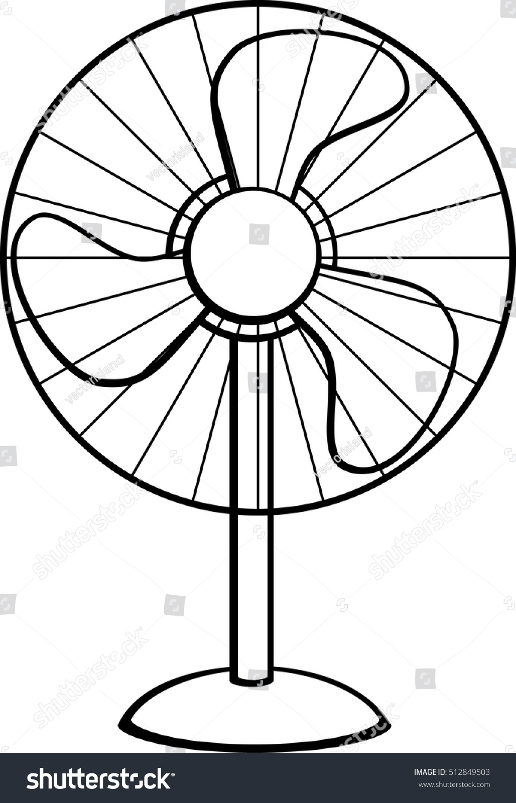 Pedestal Fan Stock Vector HD (Royalty Free) 512849503 - Shutterstock for Fan Clipart Black And White  199fiz