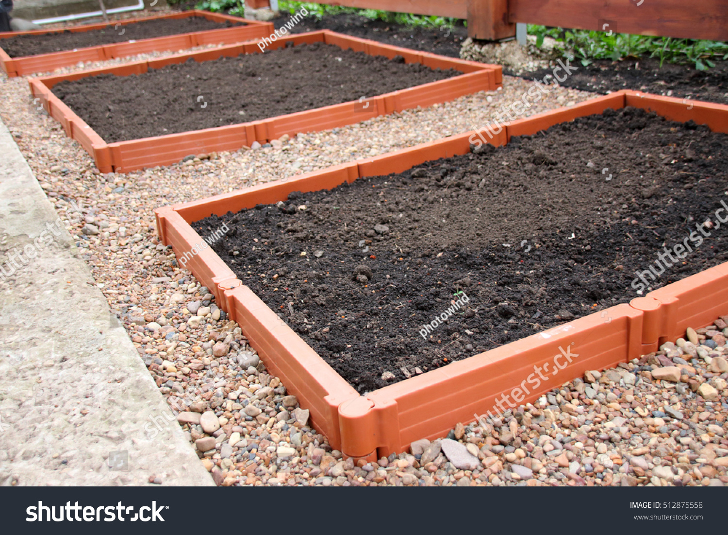 Picture of: Modern Plastic Raised Garden Vegetable Beds Stock Photo Edit Now 512875558