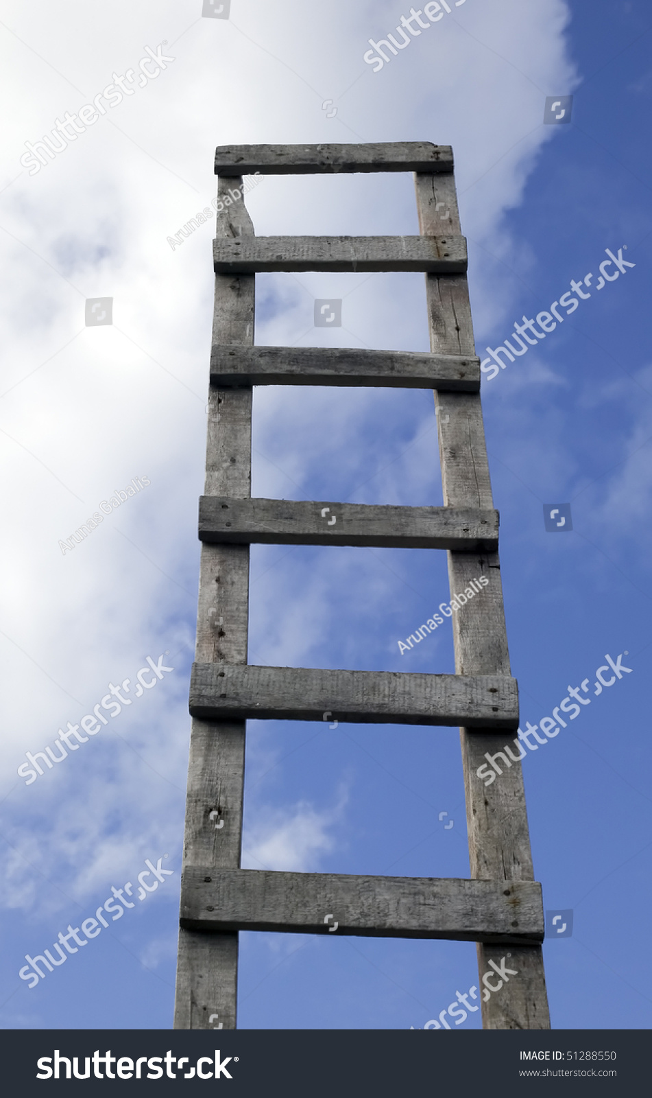 Old Antique Ladder To Blue Beautiful Heaven Stock Photo