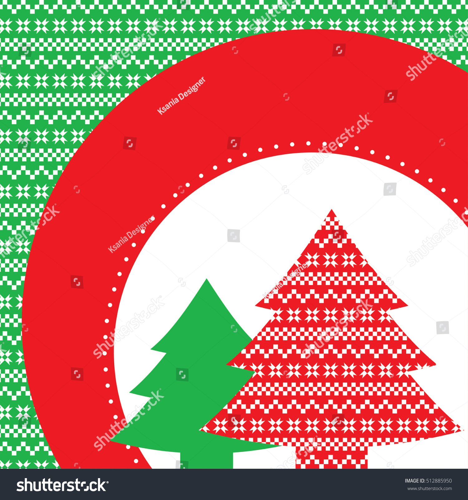 Vector Illustration Of New Year And Christmas Decorative Trees With