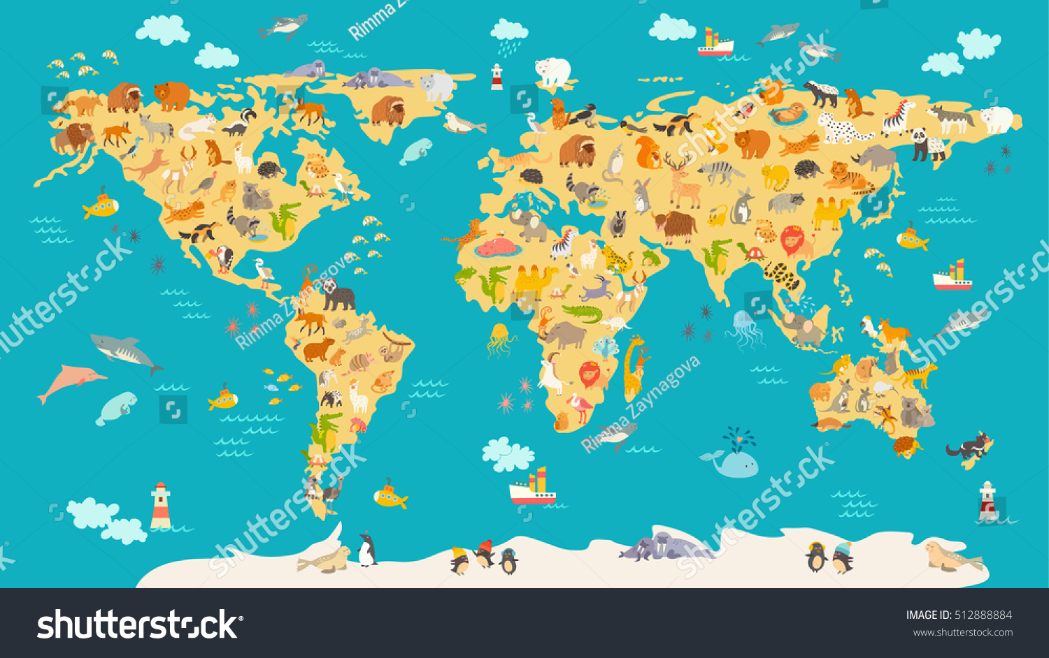 Royalty free animal map for kid world vector poster 512888884 animal map for kid world vector poster for children cute illustrated preschool cartoon gumiabroncs Image collections