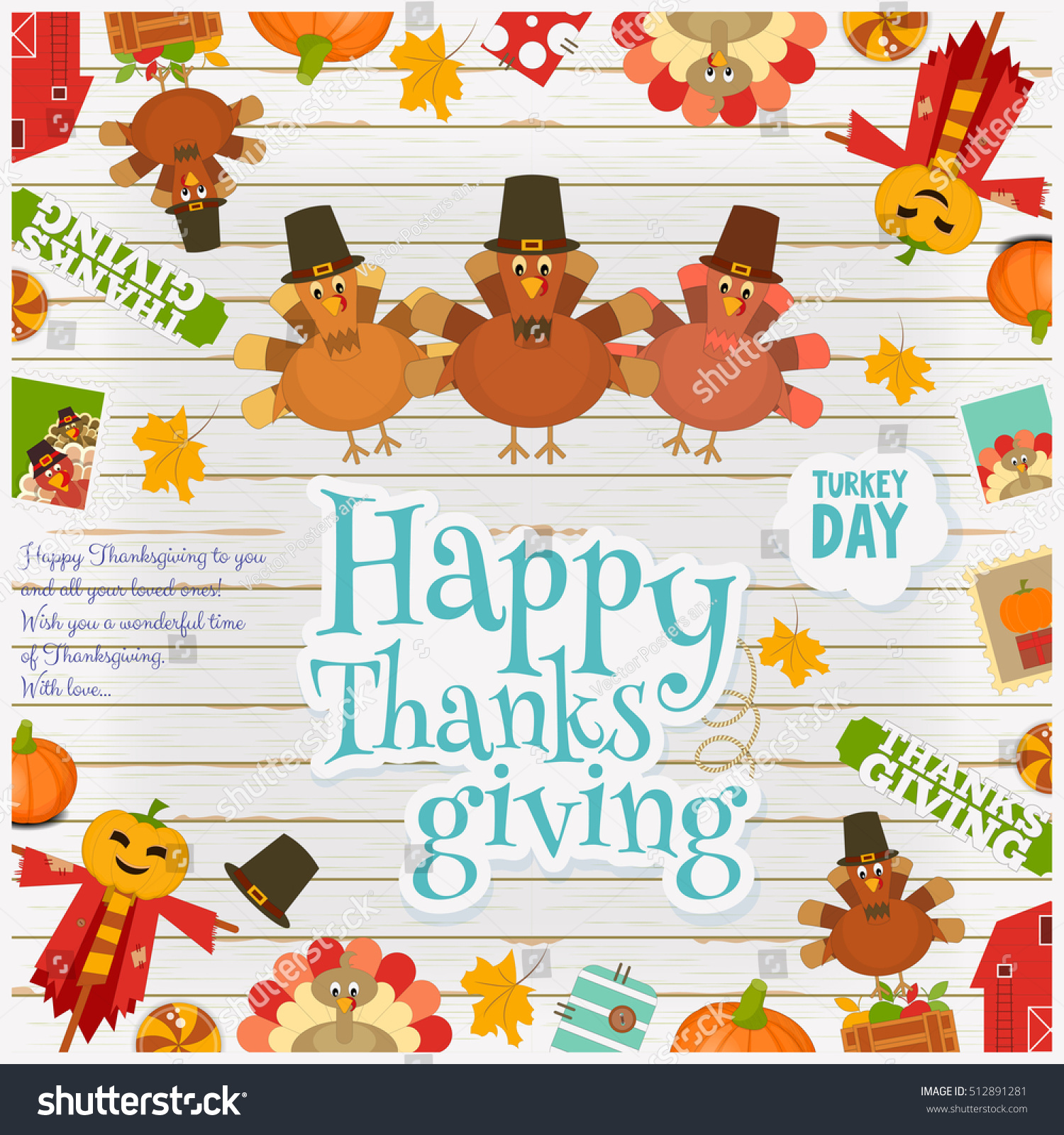 Thanksgiving Day Card Holiday Frame Cartoon Stock Vector Royalty