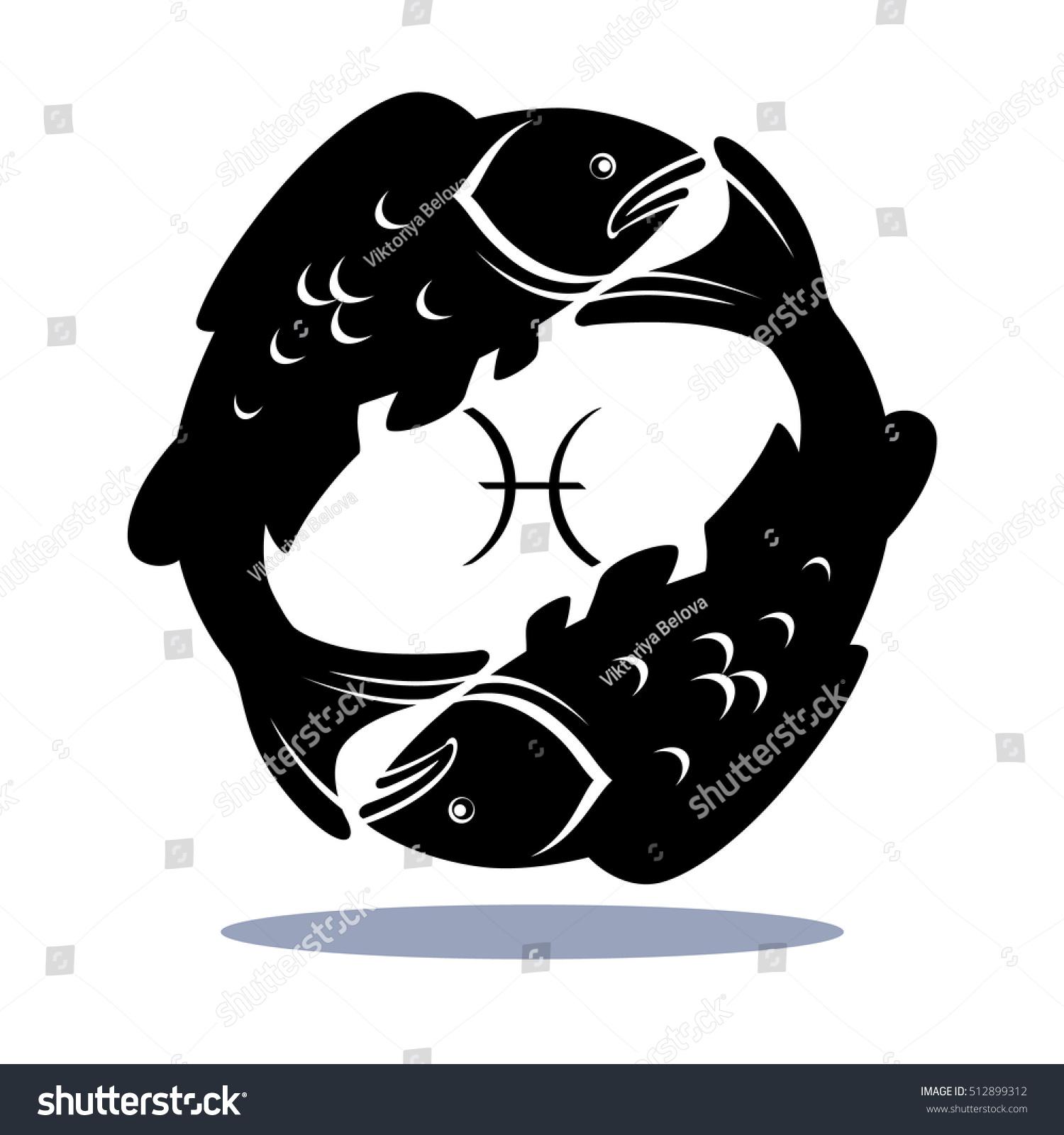 Sign Pisces Zodiac Horoscope Illustration Silhouettes Stock Vector