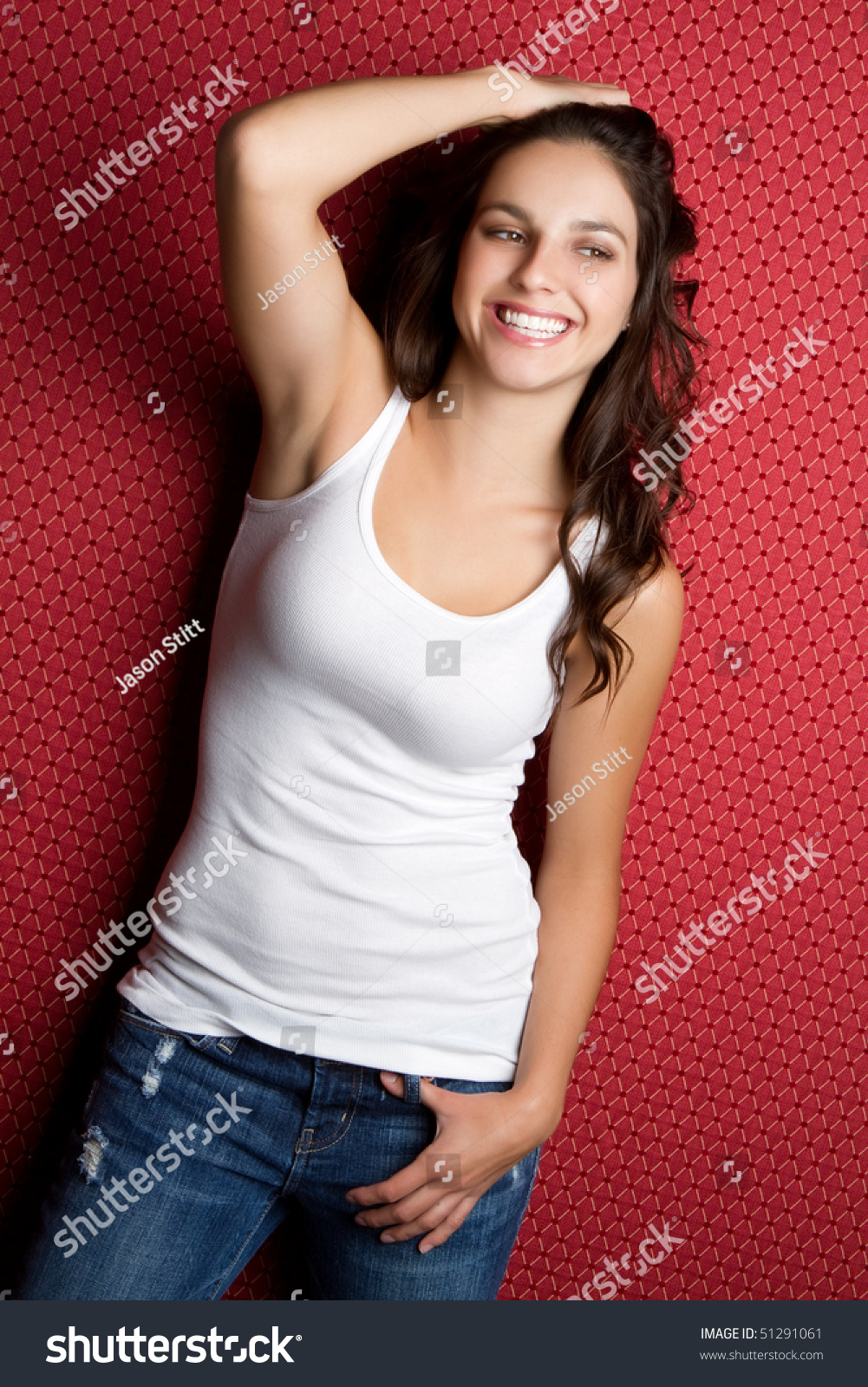 Happy Teen By Crumbling Wall Stock Image: Happy Teen Girl Stock Photo 51291061