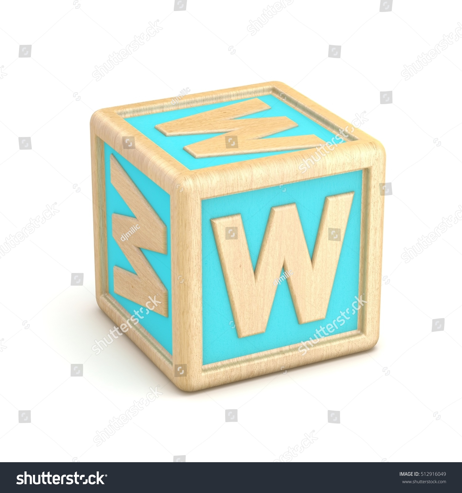 letter w wooden alphabet blocks font rotated 3d render illustration isolated on white background
