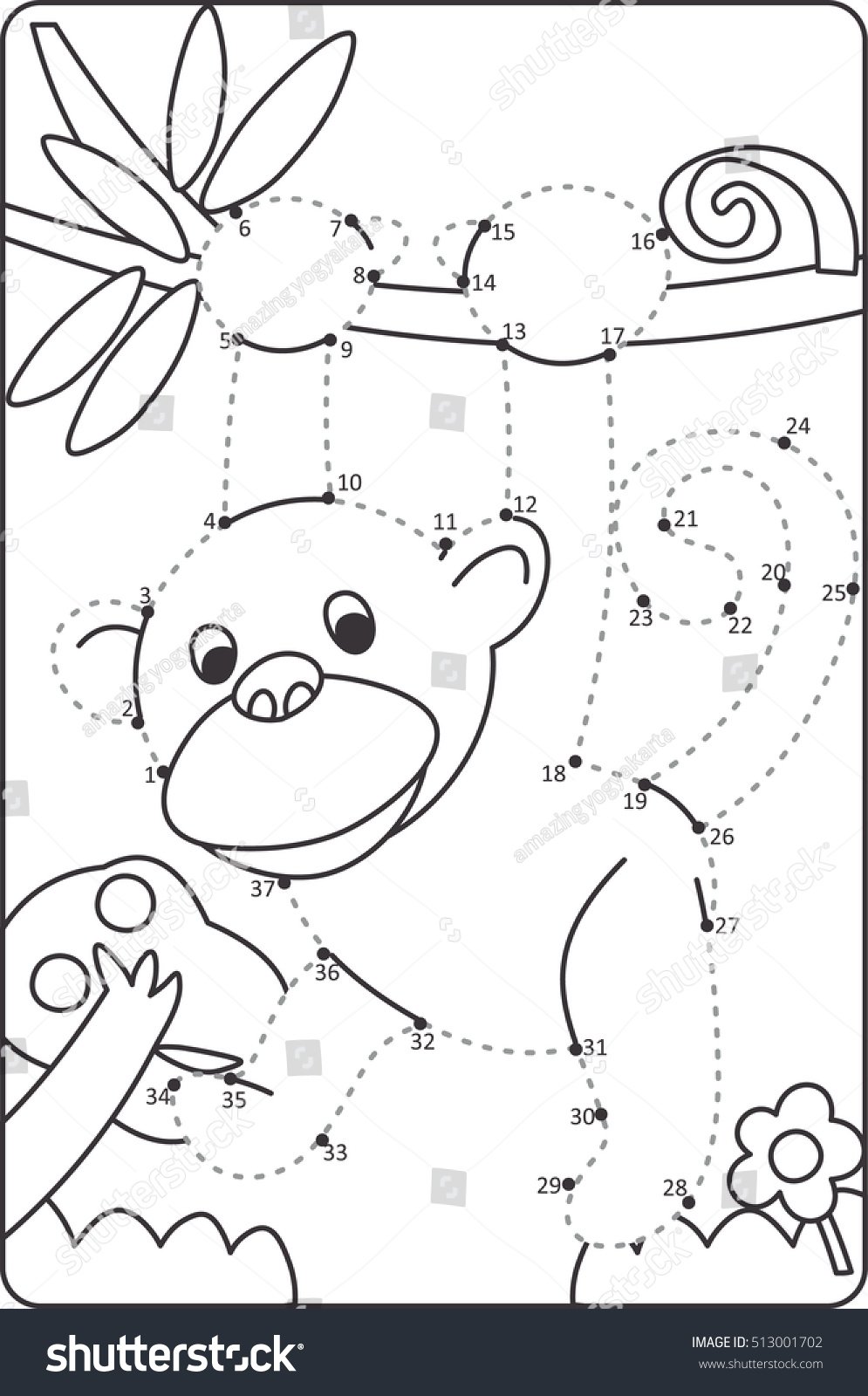 How Draw Monkey Drawing Children Dot Stock Vector Royalty Free