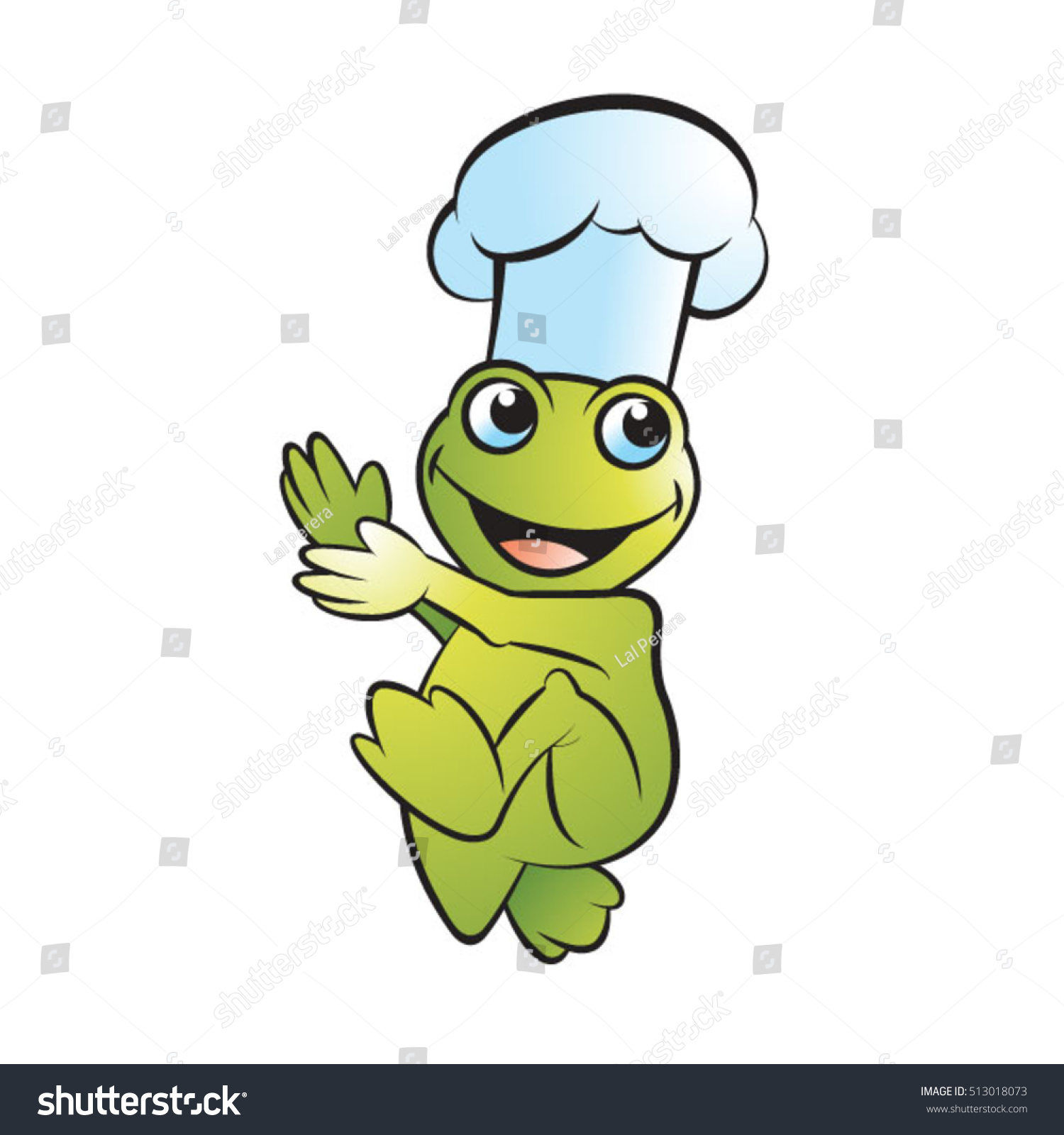 frog chef hat walking happilyvector drawing stock vector royalty rh shutterstock com Cute Frogs Frog Prince