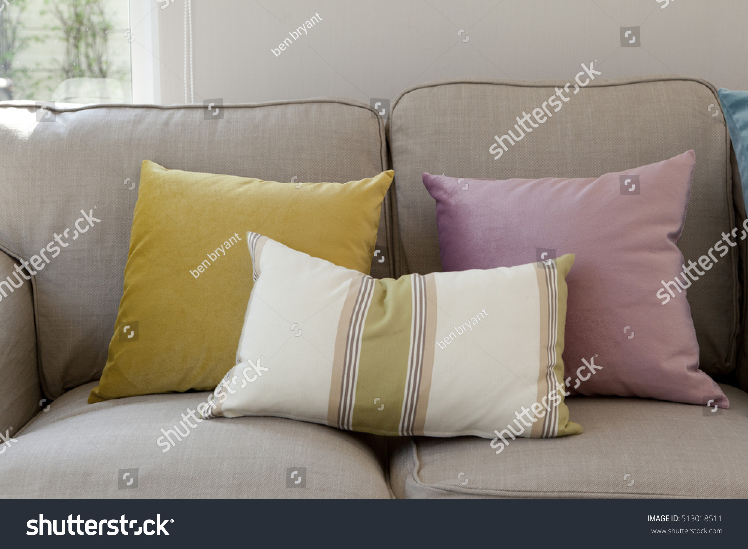 Colorful Pillows On Couch Stock Photo 513018511 - Shutterstock