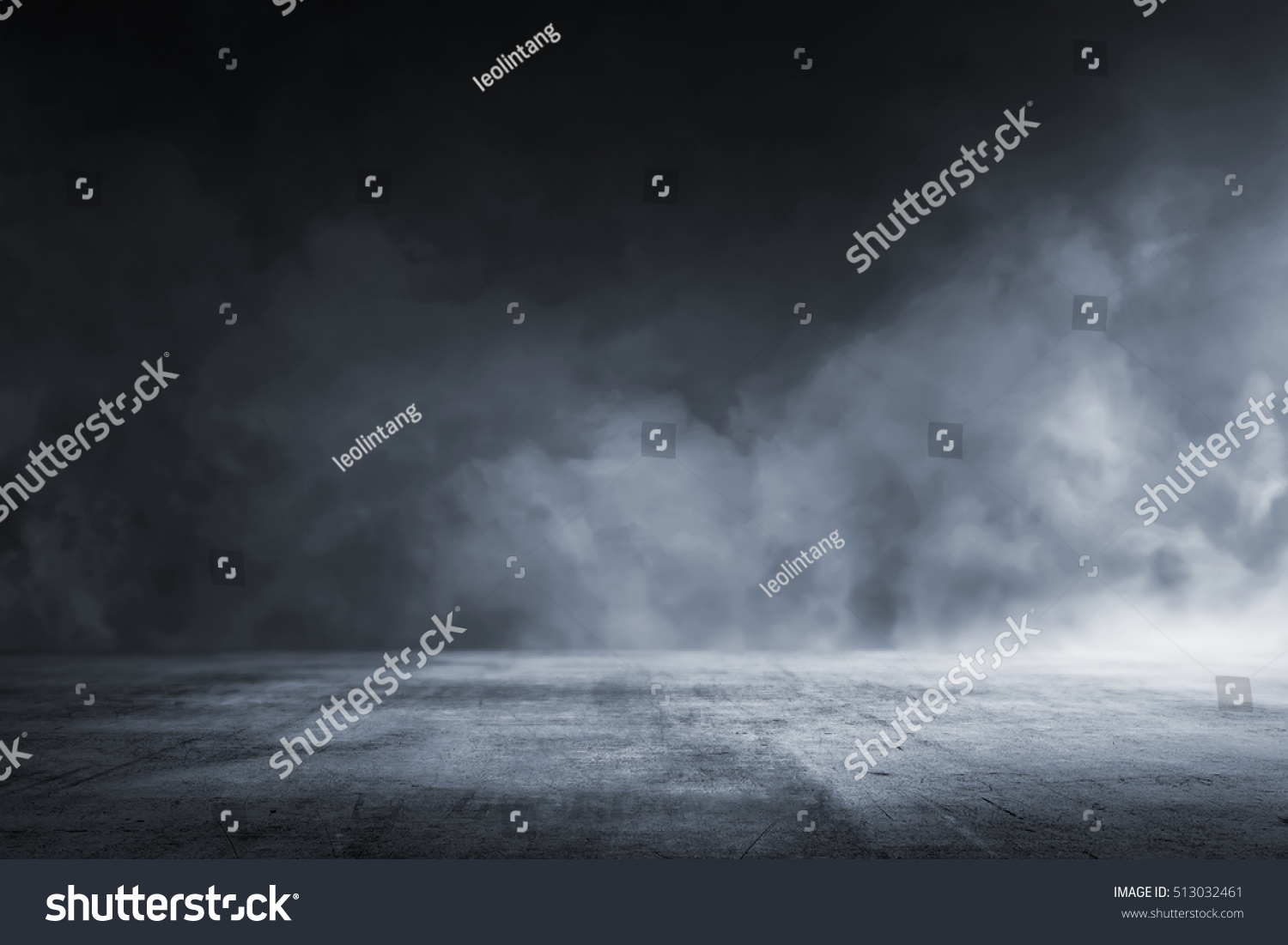 Texture dark concrete floor with mist or fog