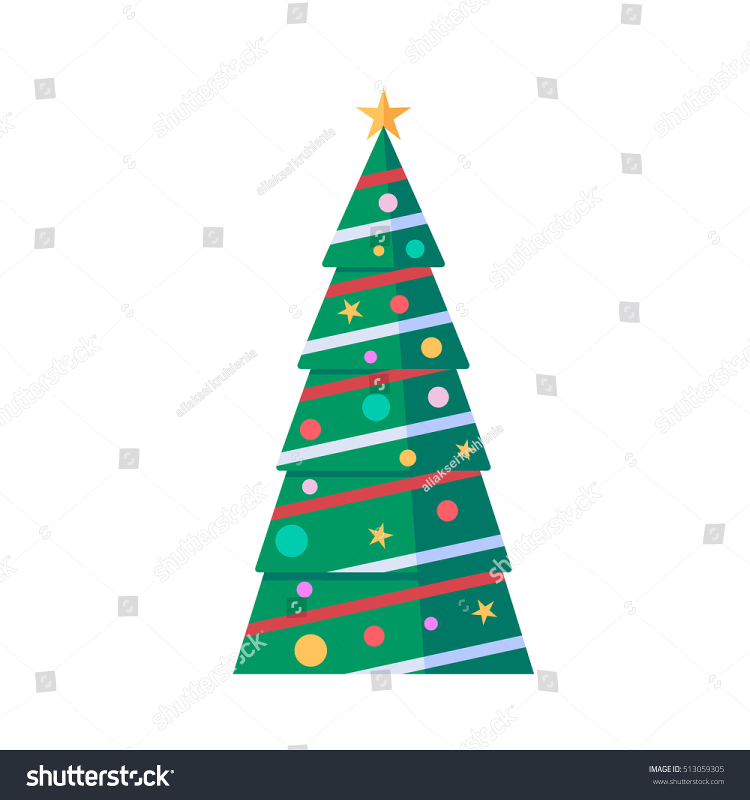New year and christmas tree in flat design decorated pine