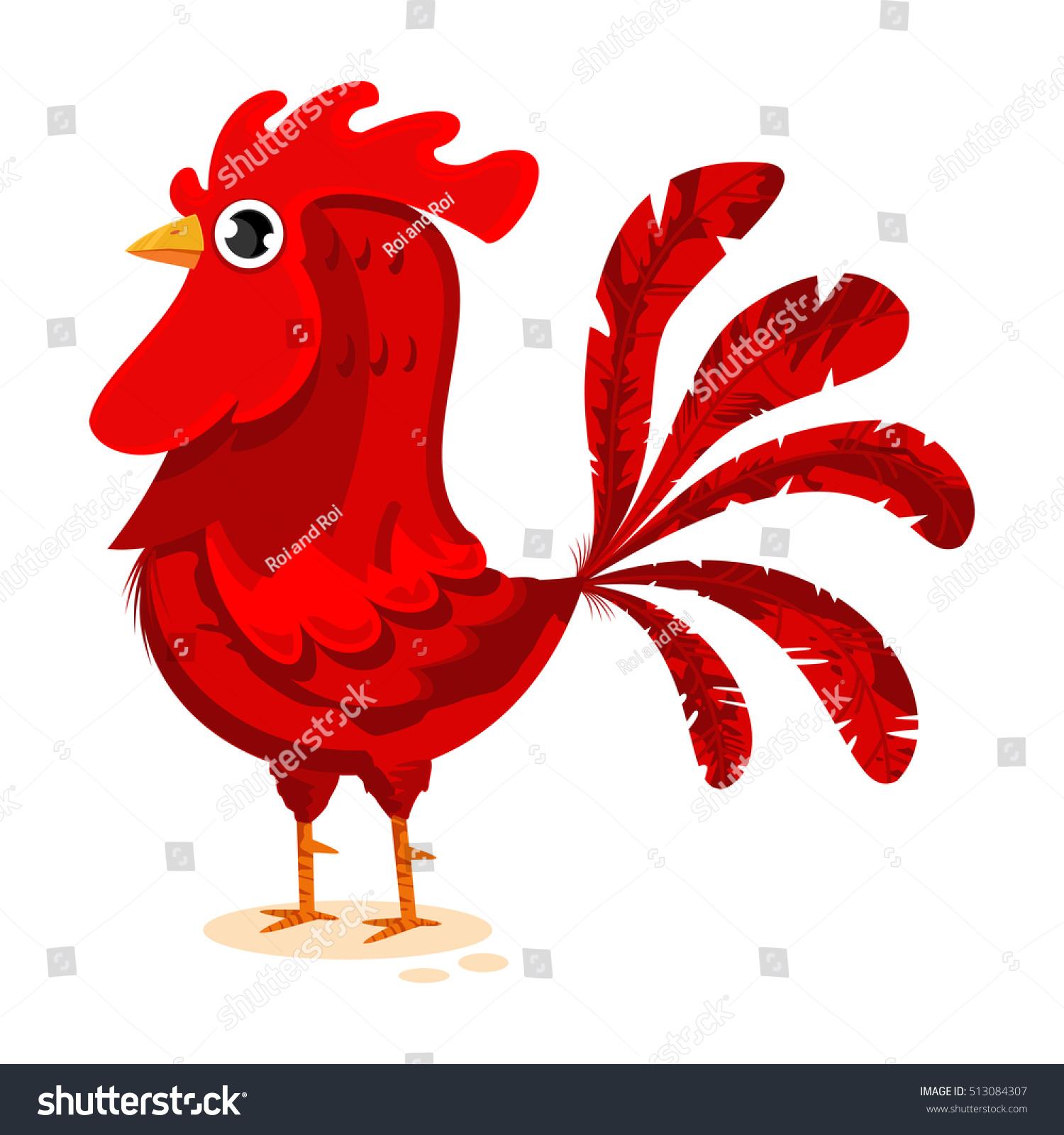 Red Rooster Cartoon Vector Illustration Bird Stock Vector Royalty