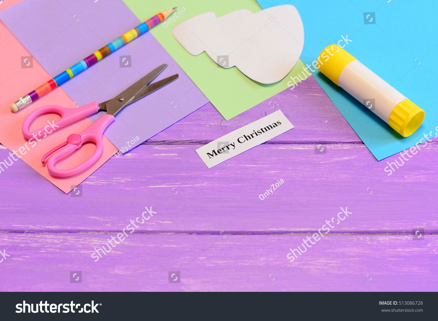 How Make Paper Greeting Card Merry Stock Photo 513086728 Shutterstock