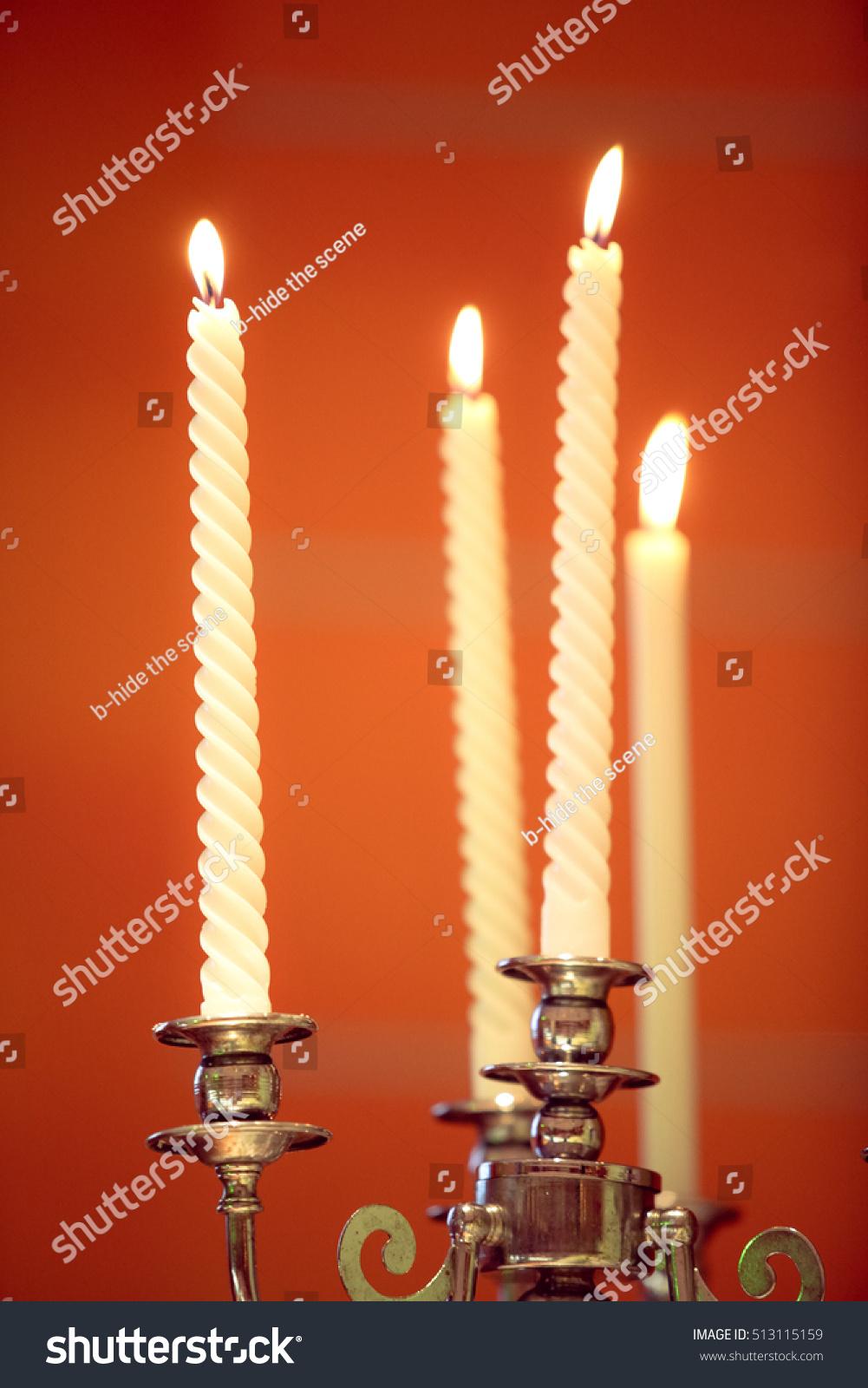 Unity Candle Wedding Ceremony Symbolize Joining Stock Photo Safe To