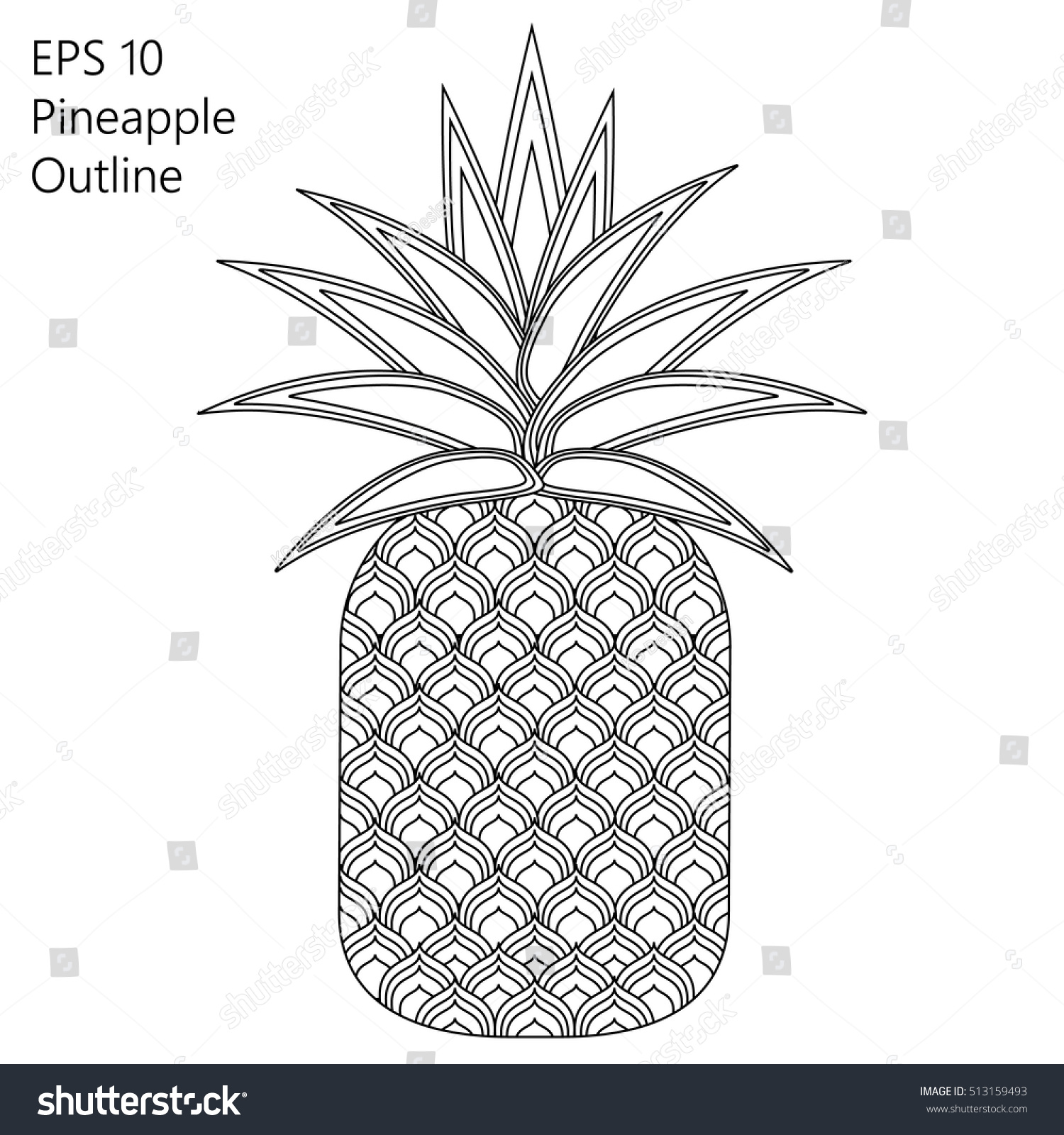 vector outline pineapple that very easy stock vector 513159493