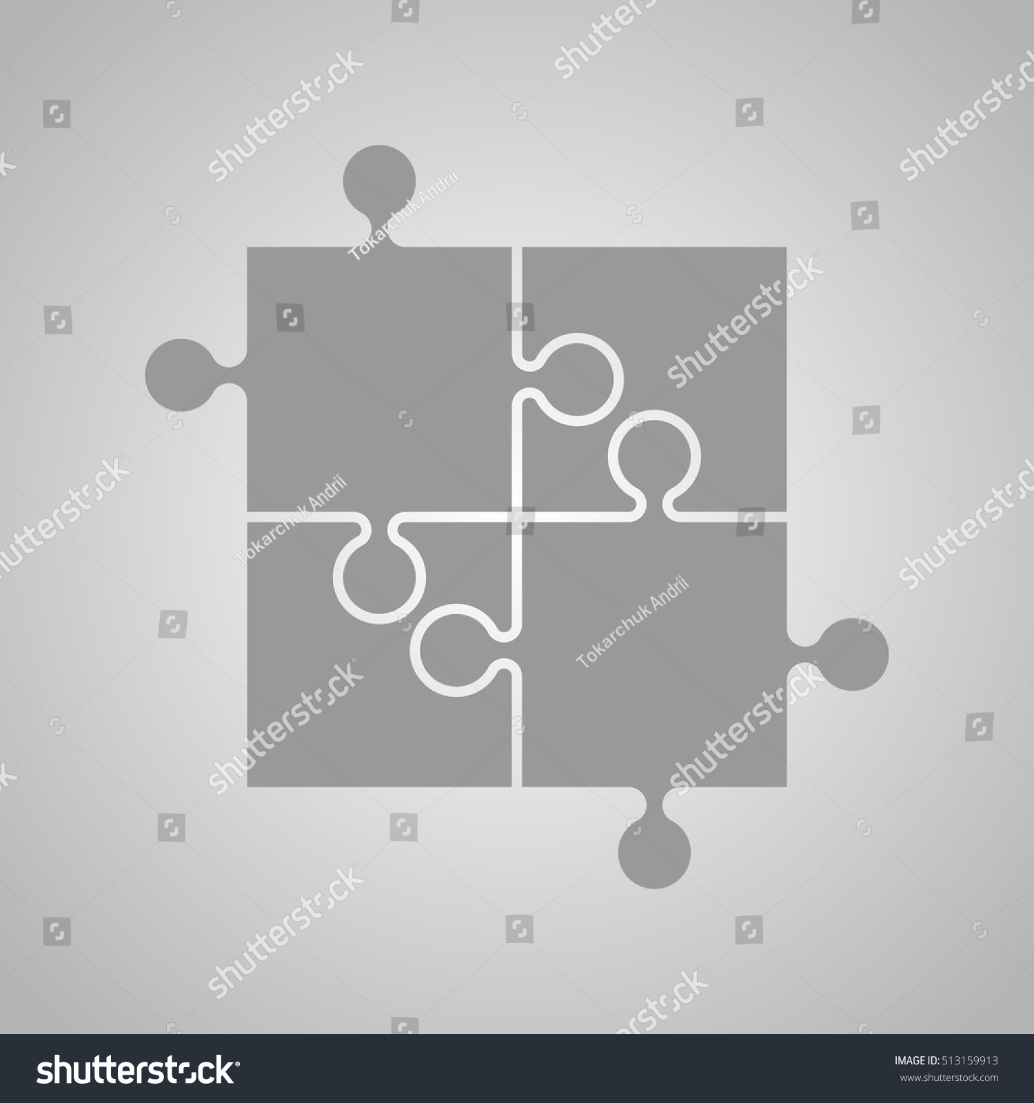 Four Grey Piece Flat Puzzle Round Stock Vector 513159913 - Shutterstock