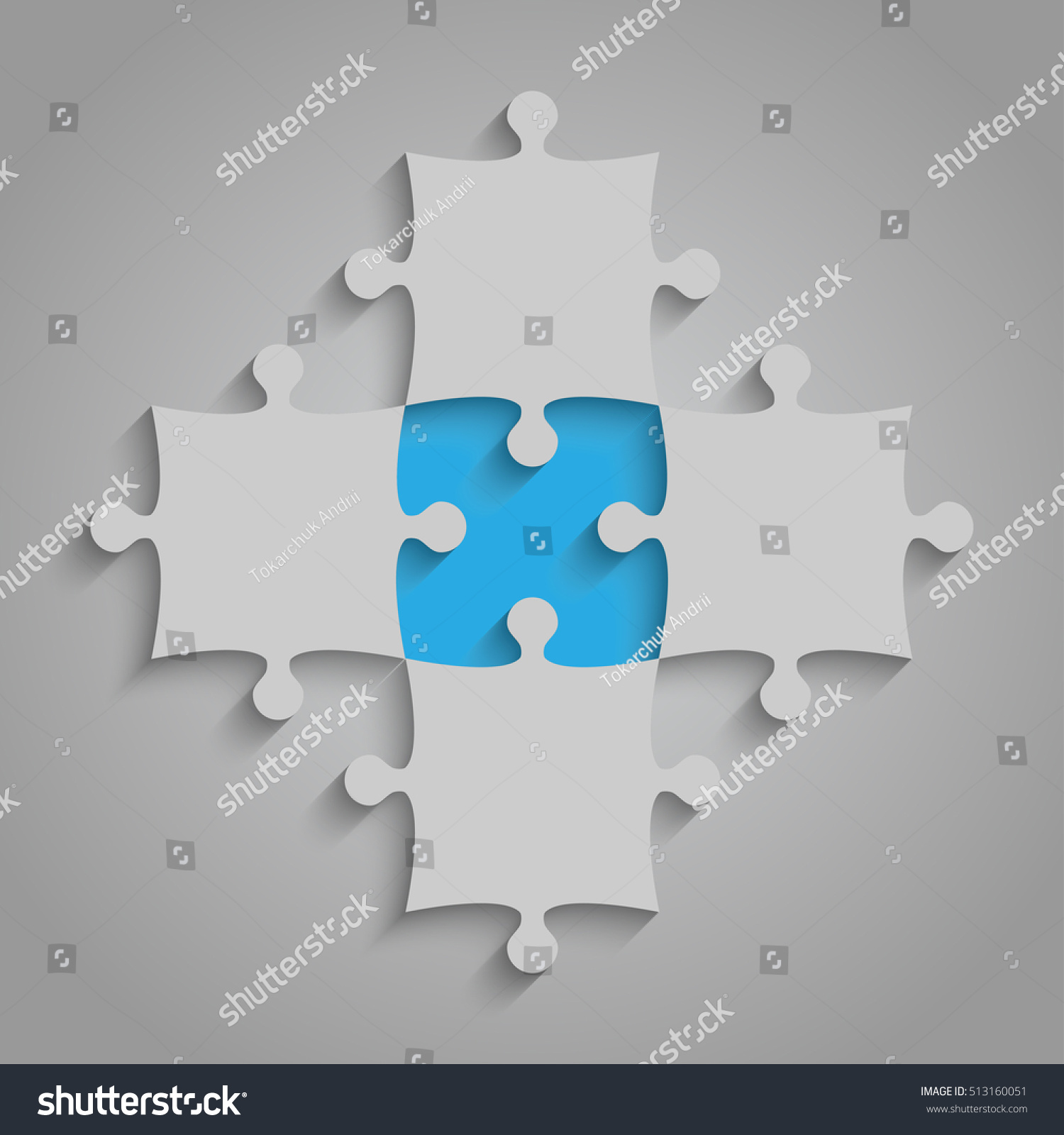 4 Grey 1 Blue Puzzles Pieces Stock Vector 513160051 - Shutterstock