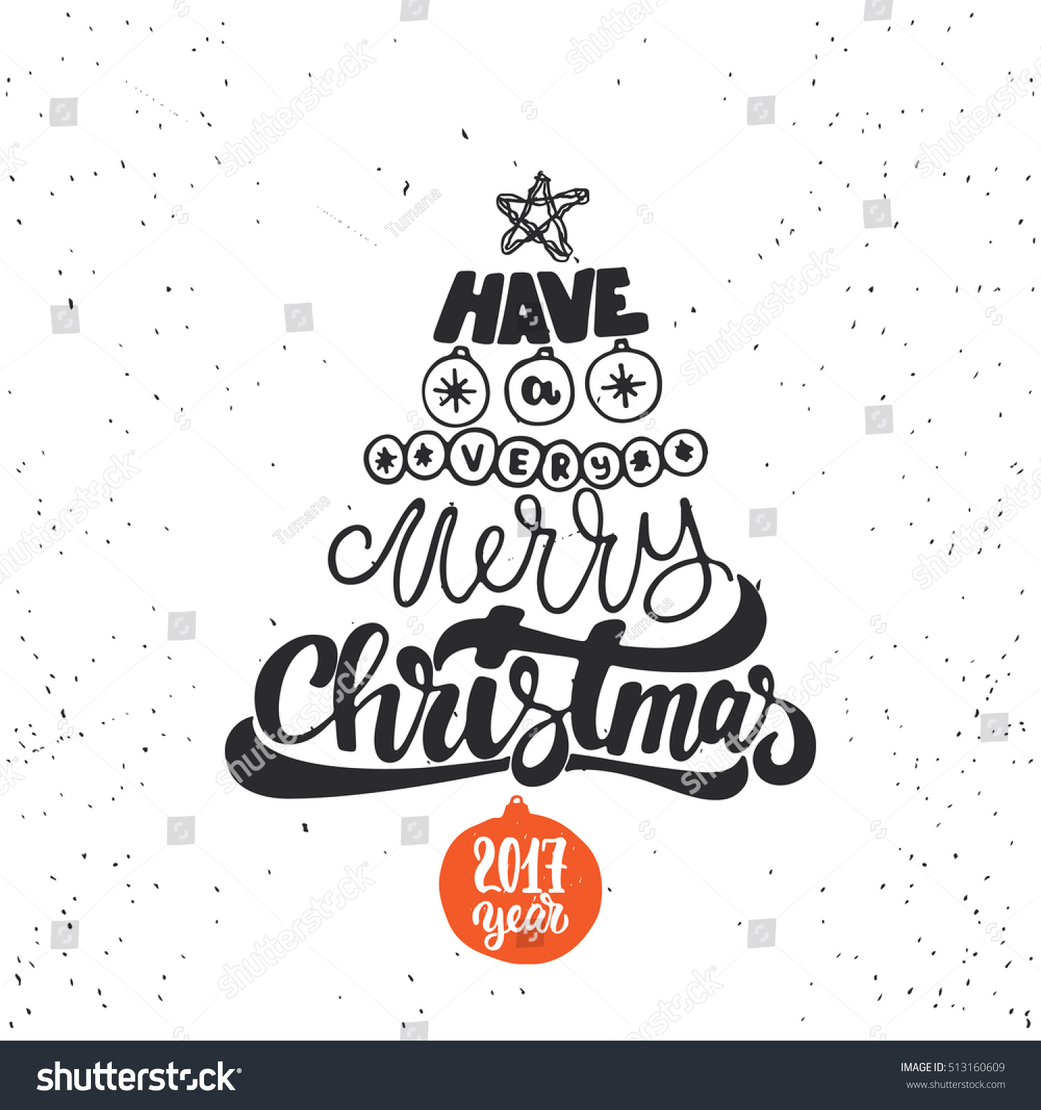 Merry Christmas And Happy New Year Lettering Holiday
