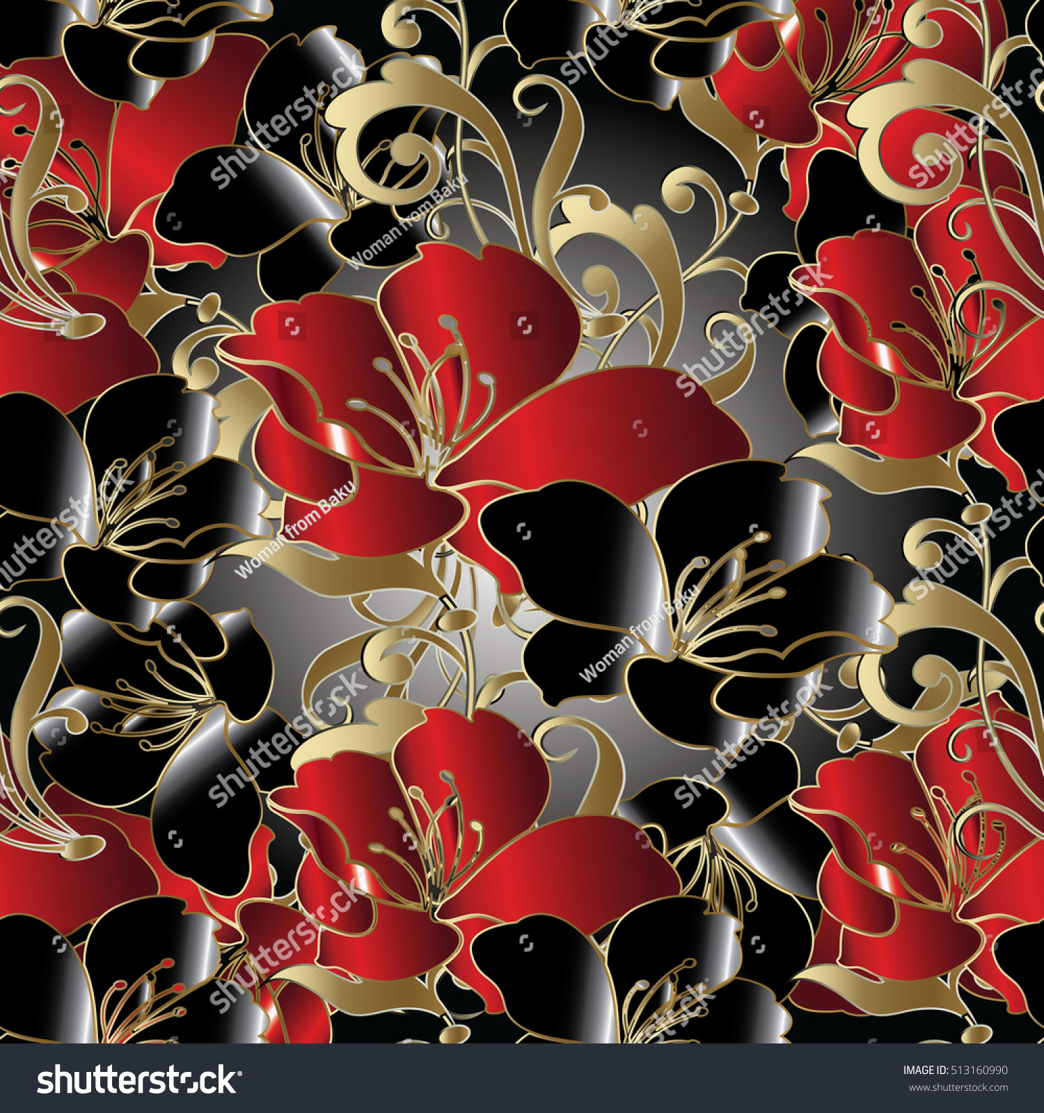 Modern Floral Seamless Patternvector Flowers Background Stock