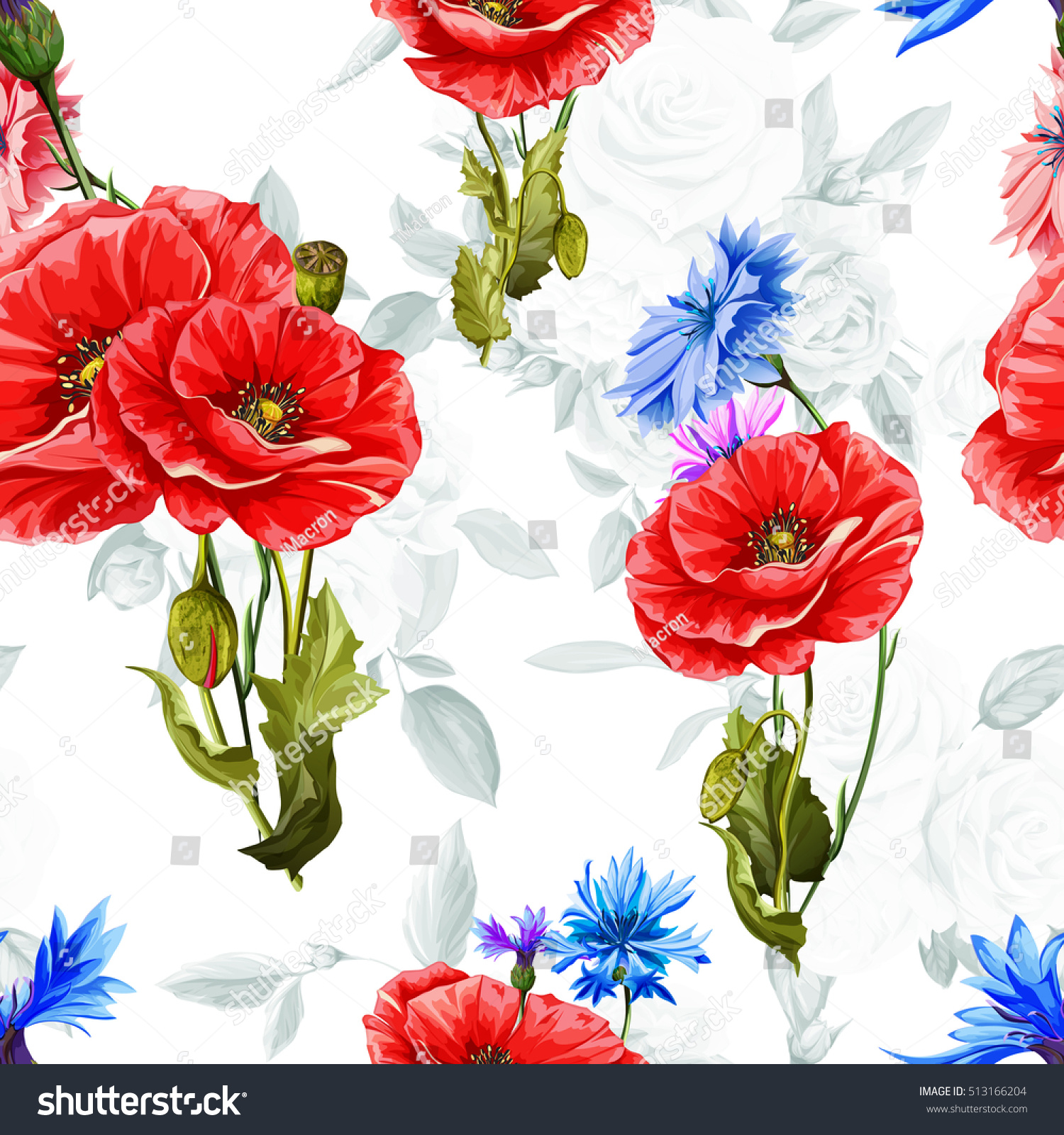 Poppy Cornflowers Roses On Background Seamless Stock Vector