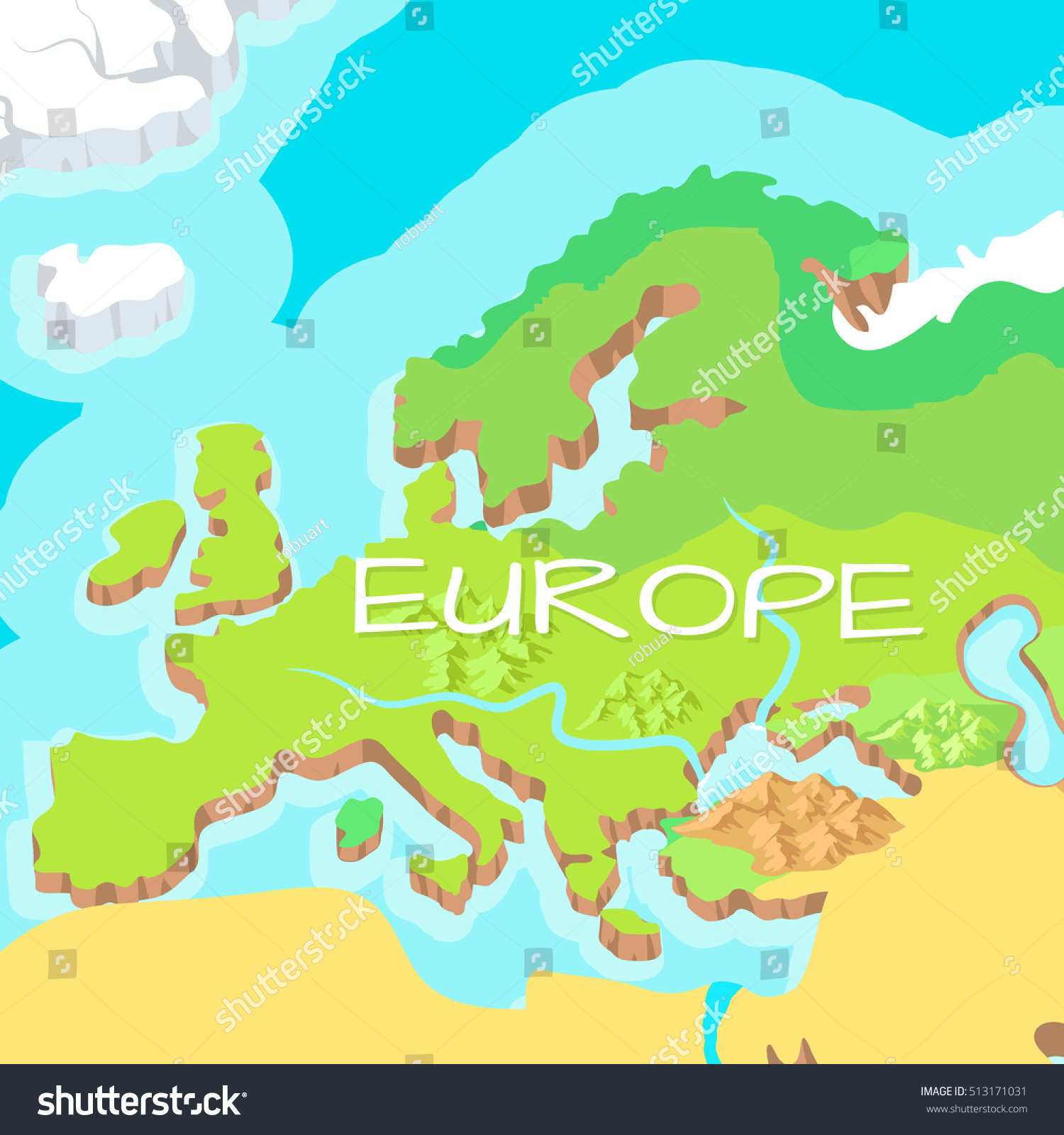 Picture of: Europe Mainland Cartoon Relief Map Mountains Stock Vector Royalty Free 513171031